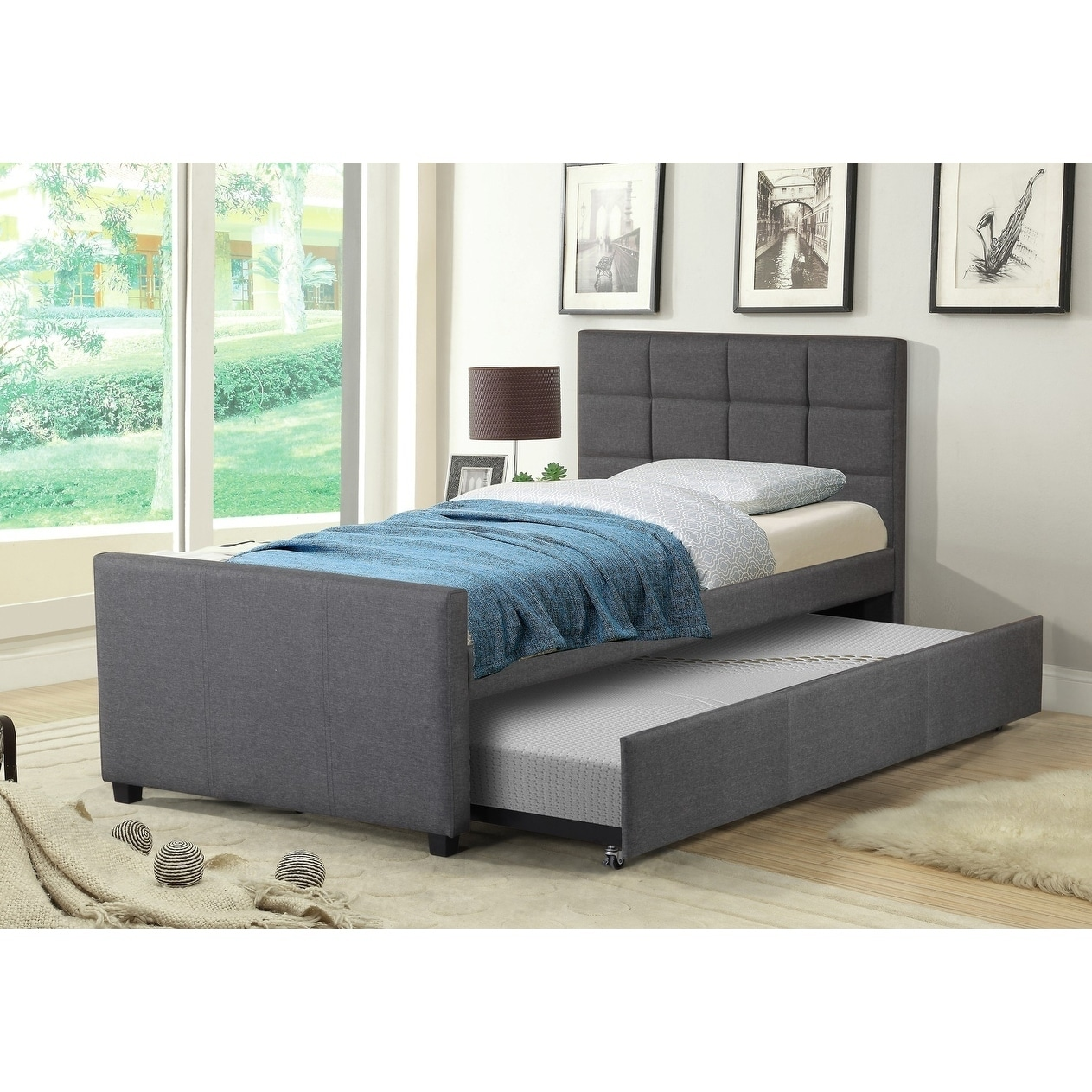 Discount Trundle Beds Best Quality Furniture Twin Upholstered Panel Bed With Twin Trundle Bed