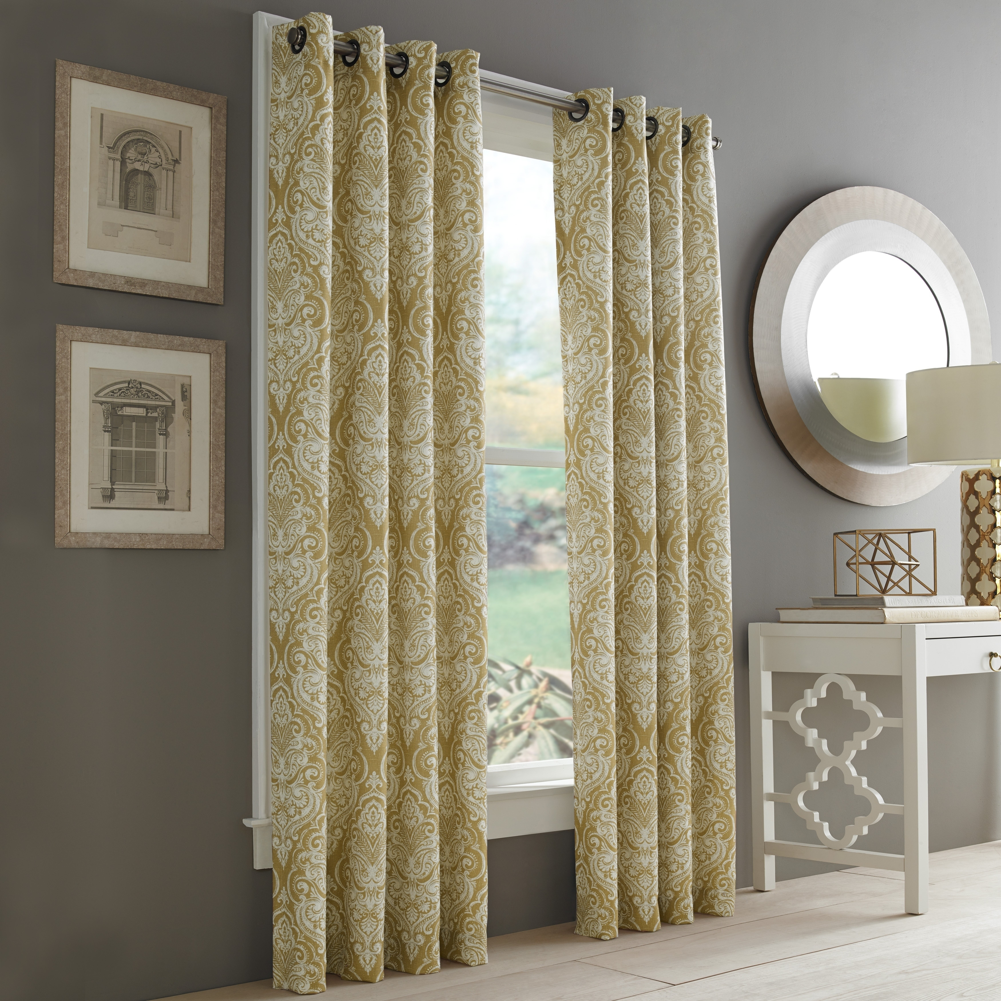 Rockland Textiles Five Queens Court Rockland Lined Single Curtain Panel