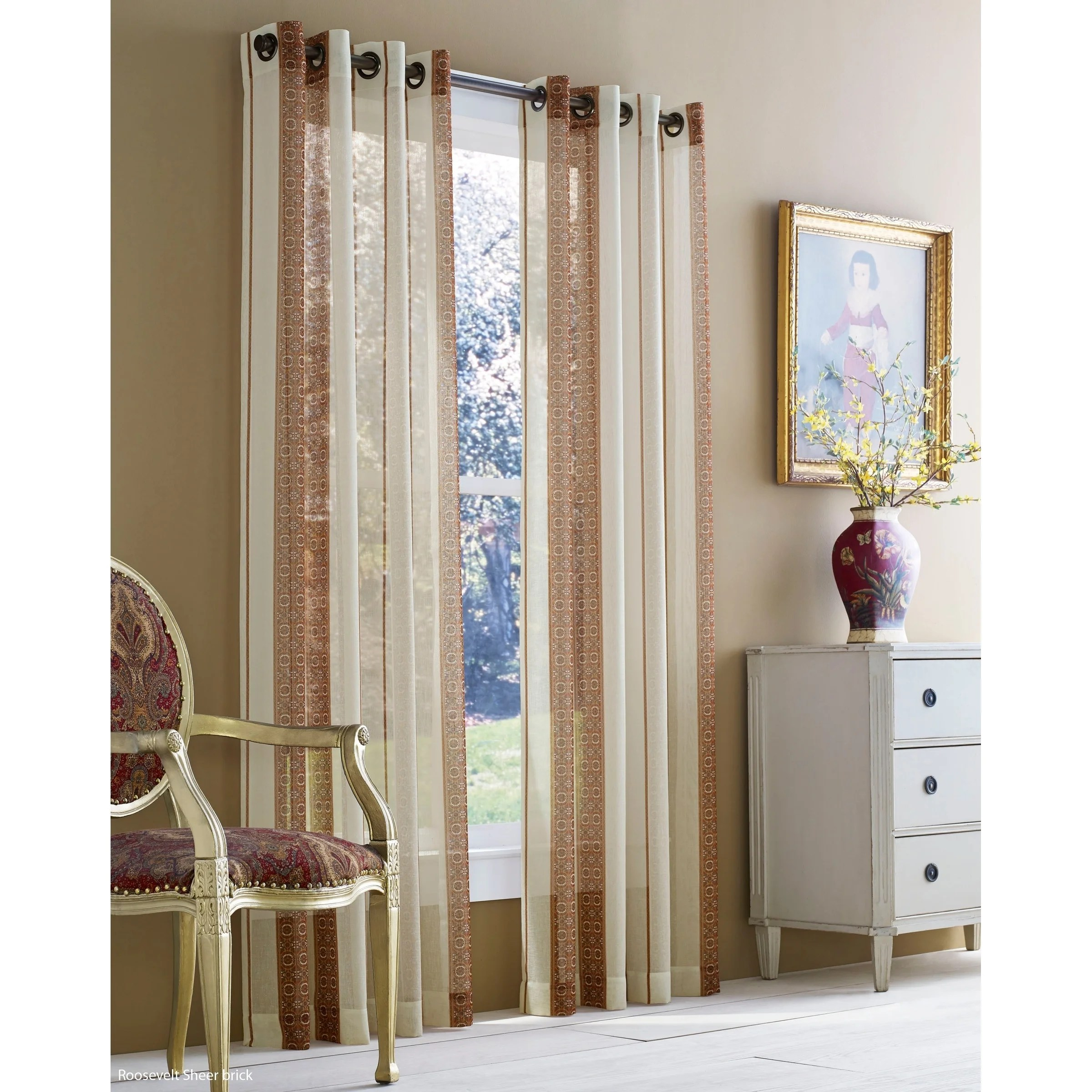 Rockland Textiles Five Queens Court Rockland Striped Sheer Curtain