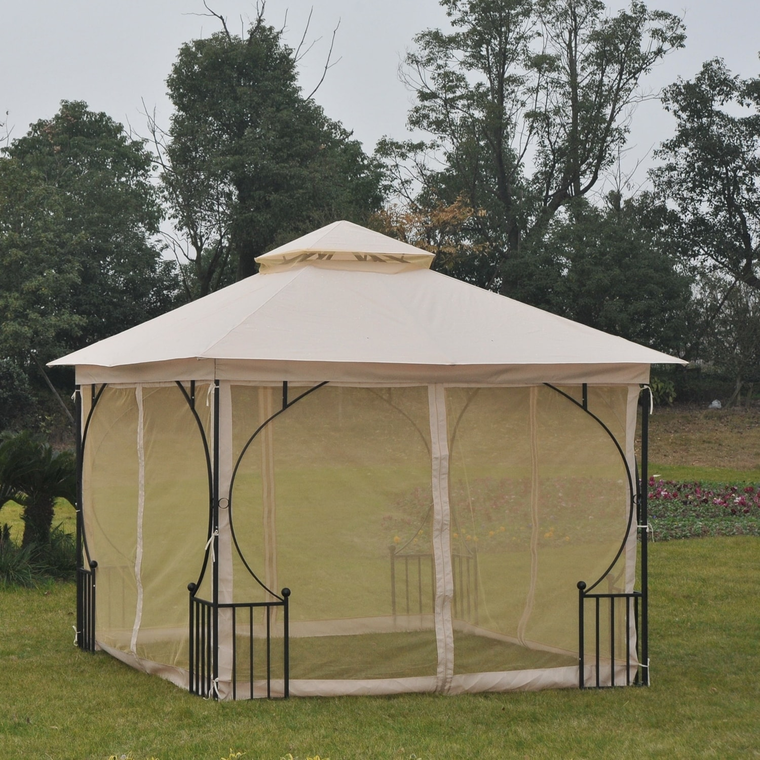 Metal Garden Gazebo Outsunny Steel Outdoor Garden Gazebo With Mosquito Netting