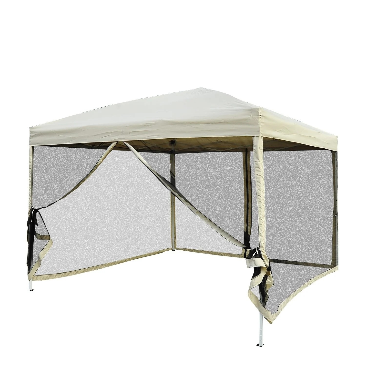 Pop Up Canopy Outsunny 10 X 10 Easy Pop Up Canopy Tent With Mesh Side Walls Tan