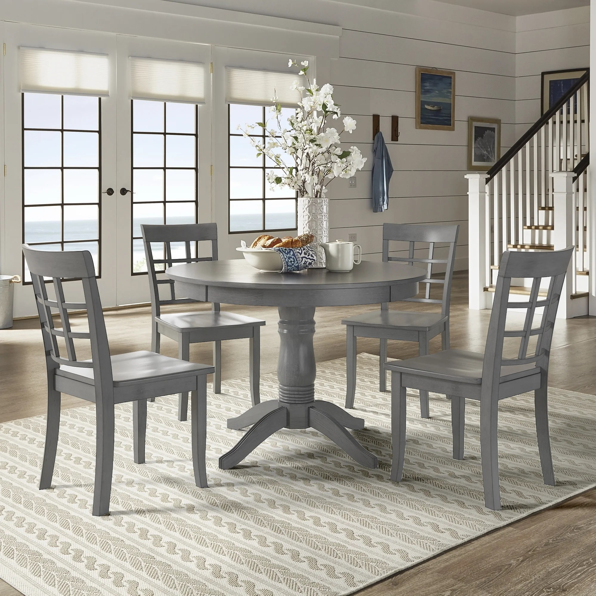 Viva Garage Floor Mats Wilmington Ii Round Pedestal Base Antique Grey 5 Piece Dining Set By Inspire Q Classic