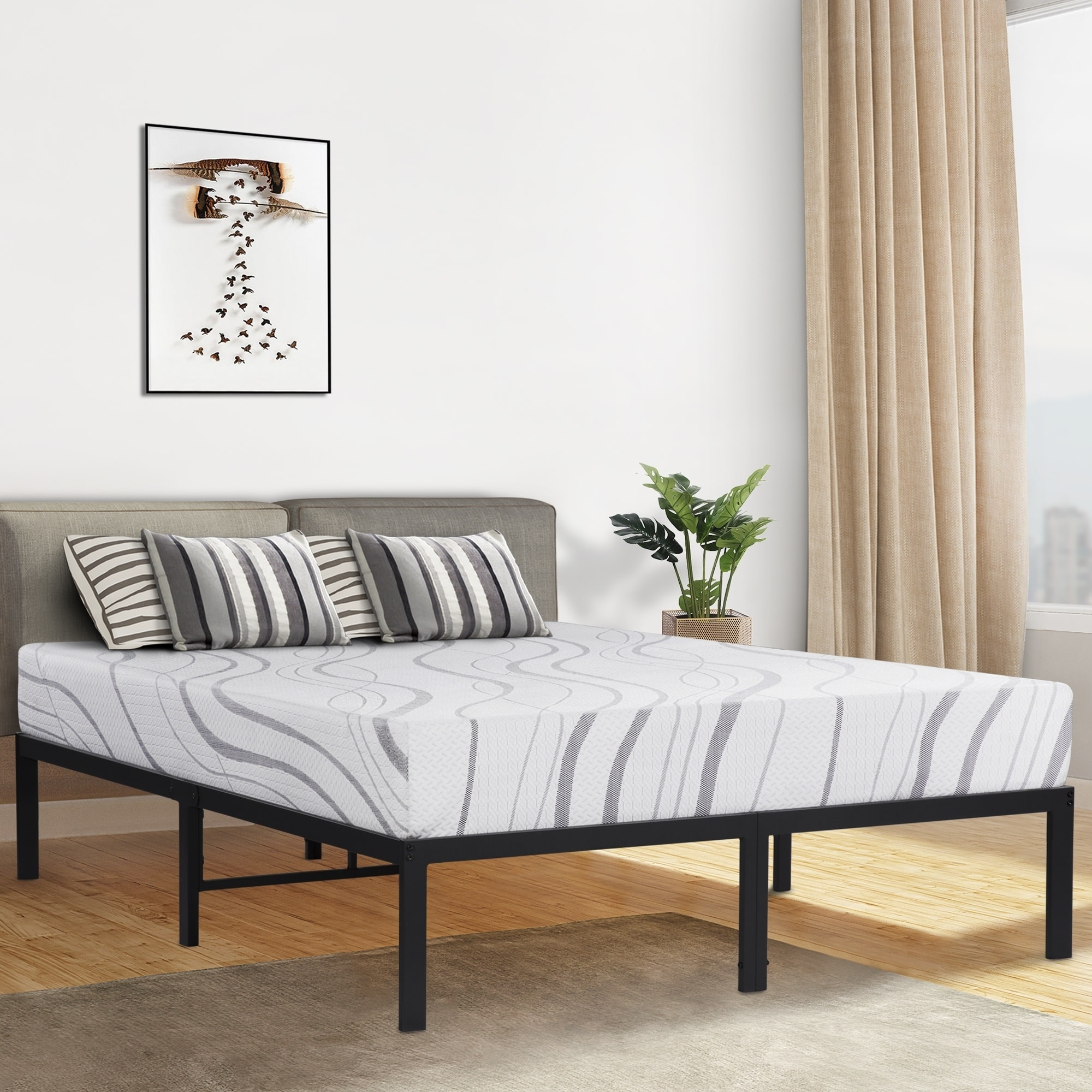 Dura Beds Mattress Sleeplanner 14 Inch Queen Size Dura Steel Slat Bed Frame Ovt 2000