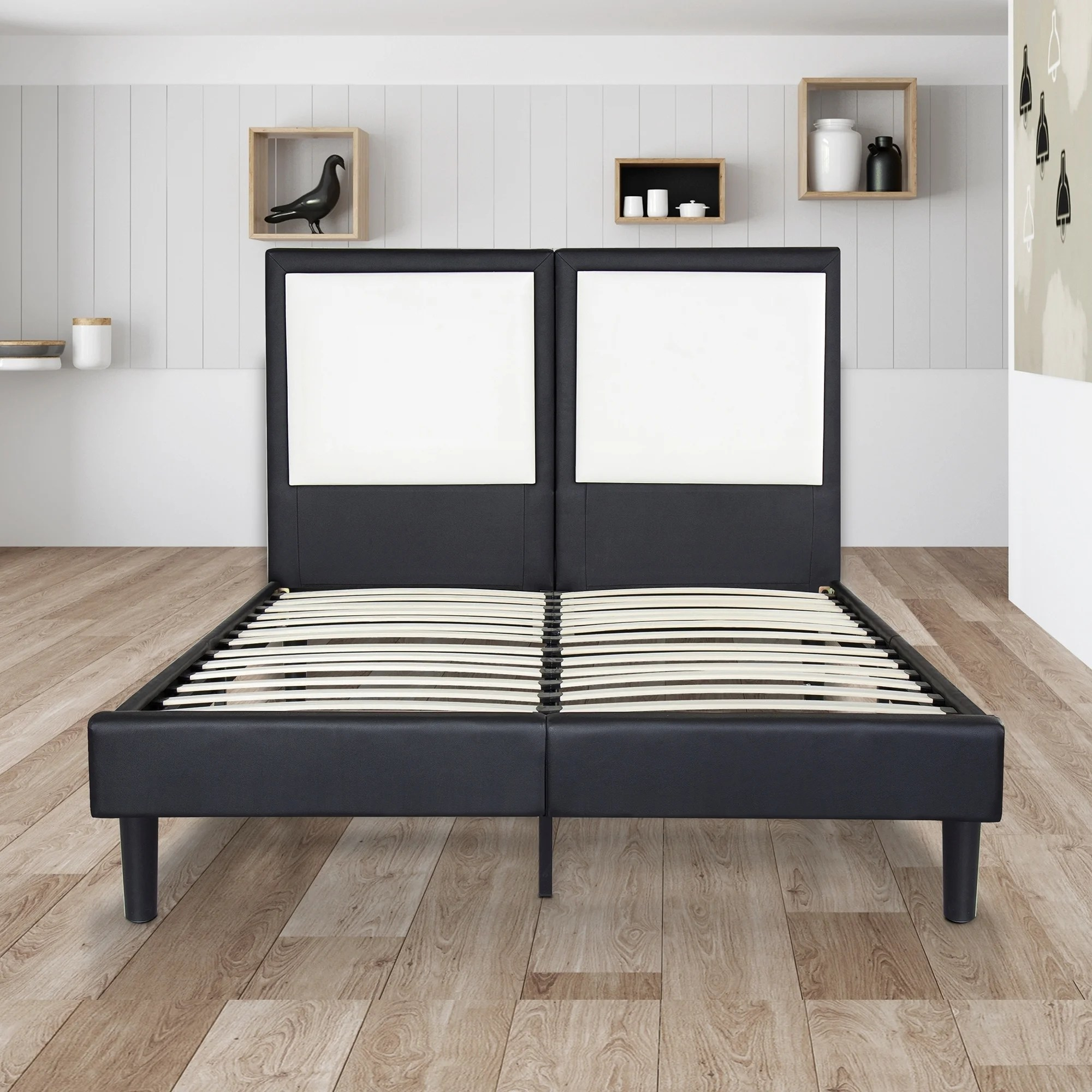 Dura Beds Mattress Sleeplanner 14 Inch King Size Dura Metal Bed Frame With White Square Faux Leather Headboard