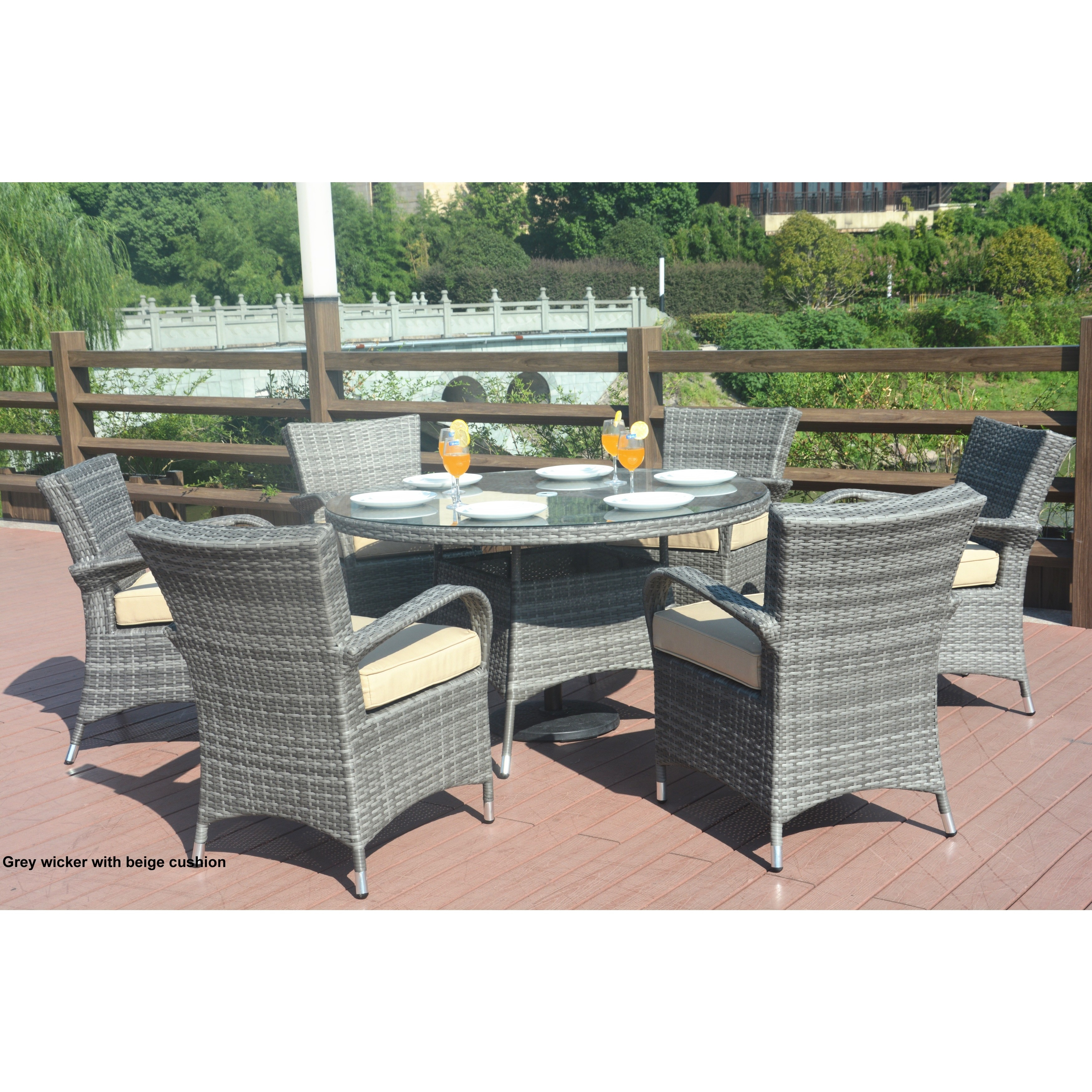 Round Patio Furniture Turin Round Outdoor 7 Piece Patio Wicker Dining Set With Eton Chairs By Direct Wicker