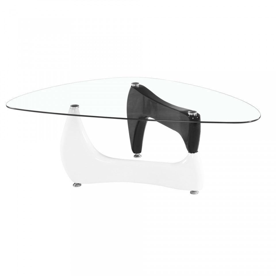 Noguchi Table Noguchi Style Glass Coffee Table With Black And White Gloss Legs