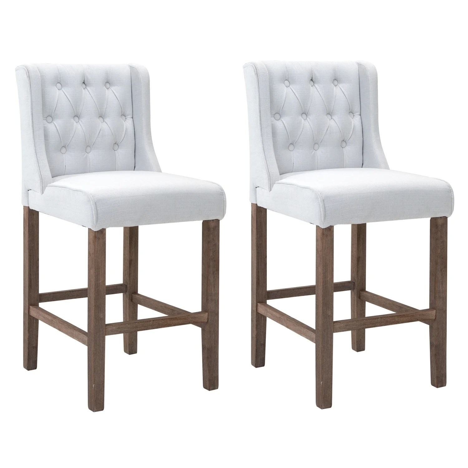 Fabric Counter Height Bar Stools Homcom Modern Bar Height Fabric Wingback Dining Chairs With Tufted Buttons Cream White Set Of 2 Chairs