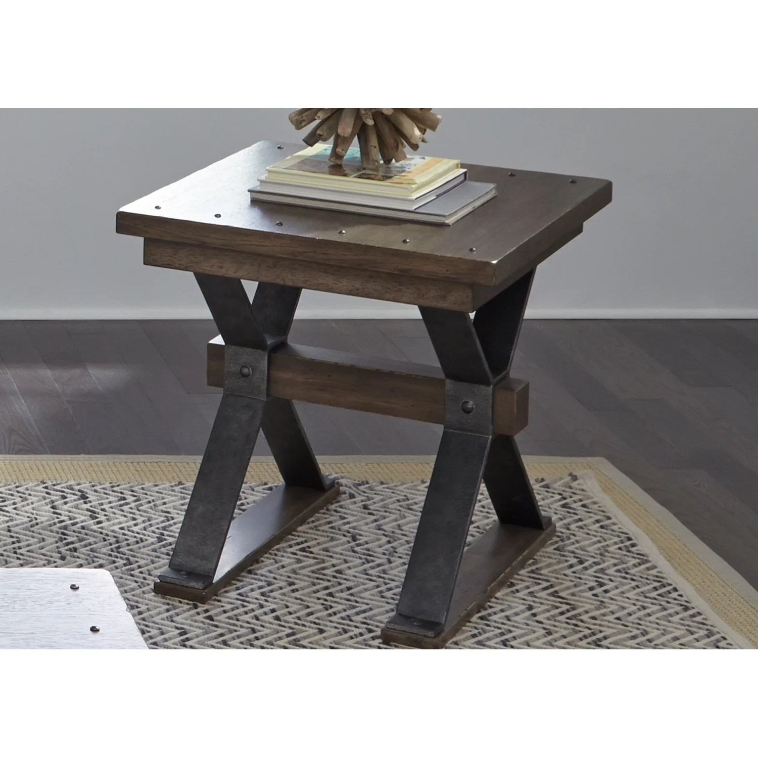Building An End Table Sonoma Road Weathered Beaten Bark And Metal End Table