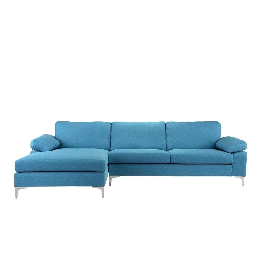 L Sofa Modern Large Linen Sectional Sofa L Shape Couch Wide Chaise