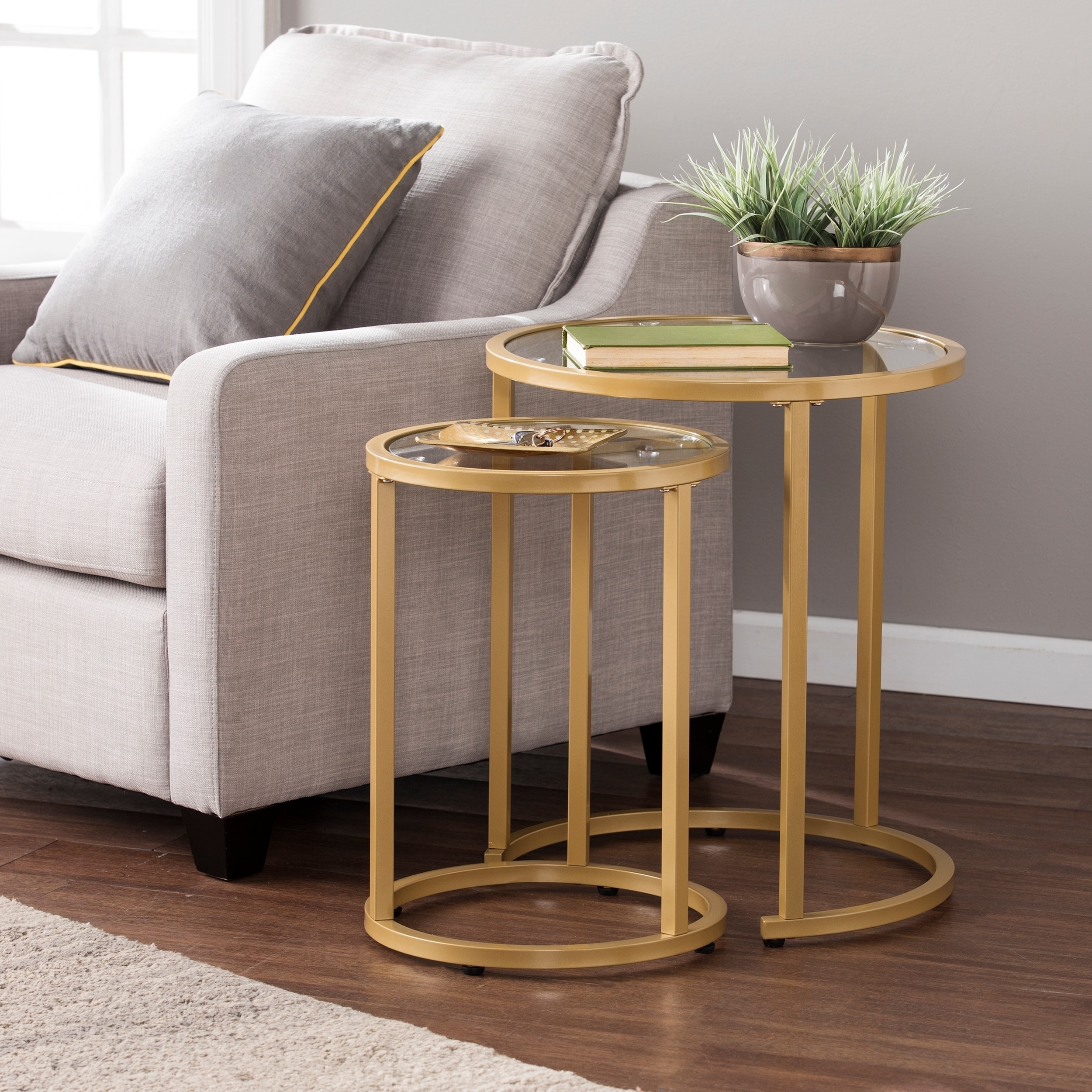 Gold Nesting Coffee Table Silver Orchid Grant Glam Nesting Side Table 2pc Set Gold