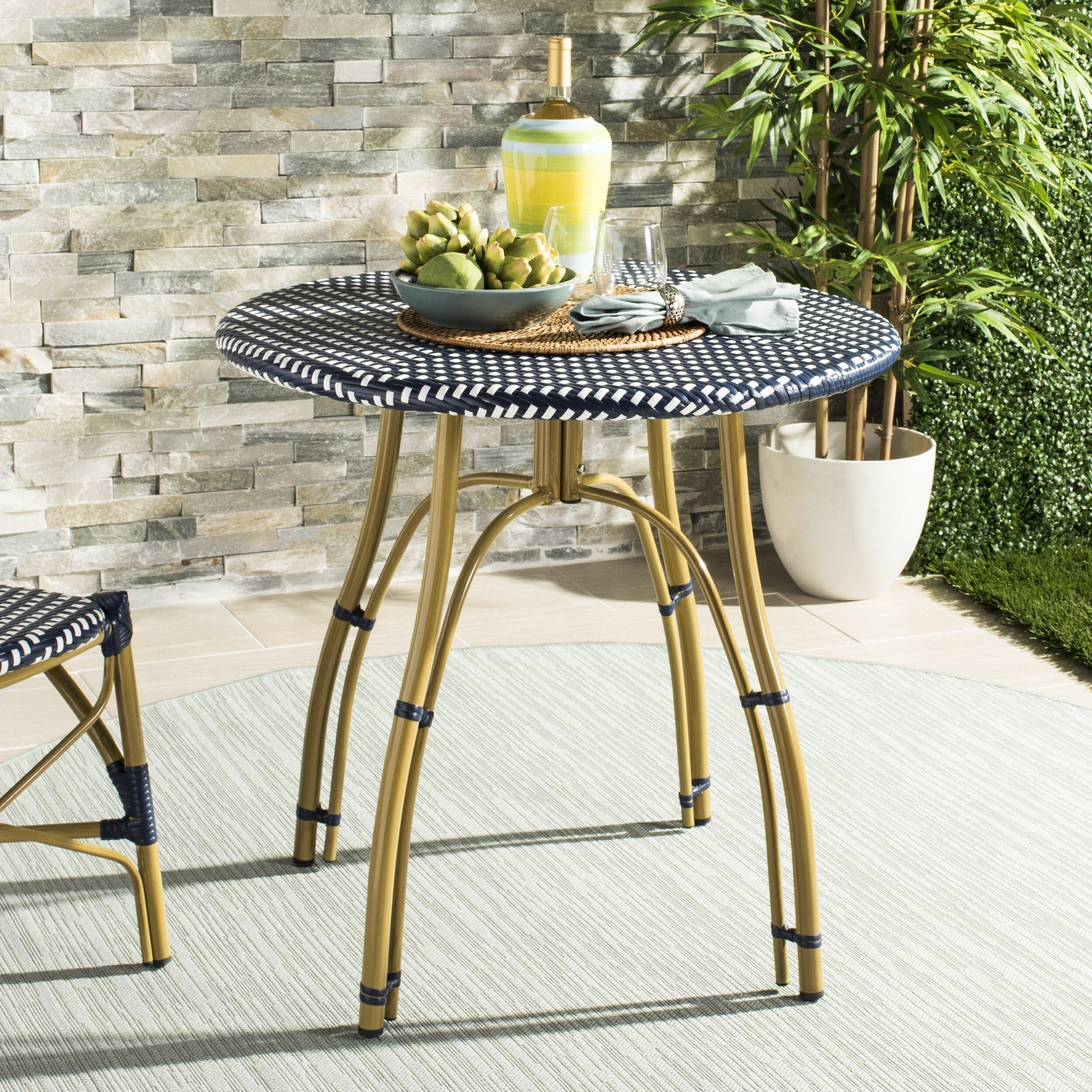 Rattan Table Safavieh Outdoor Living Kylie Navy White Rattan Bistro Table