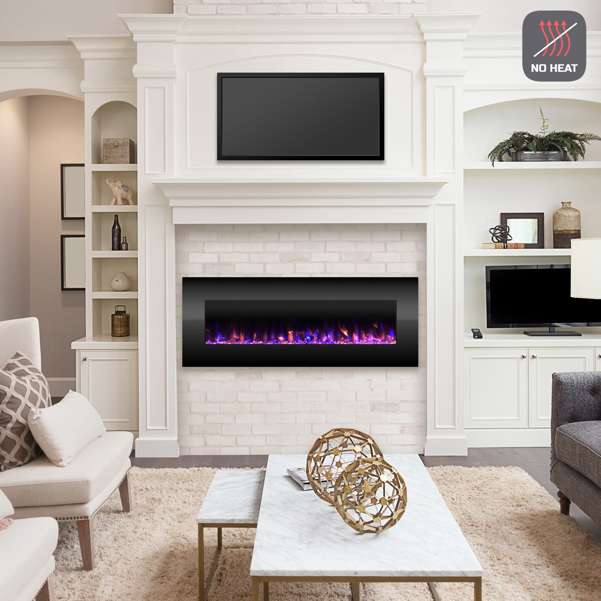 Electric Fireplace Built Into Wall Electric Fireplace Wall Mounted Color Changing Led Fire And Ice Flames No Heat Remote Control 54 Inch By Northwest