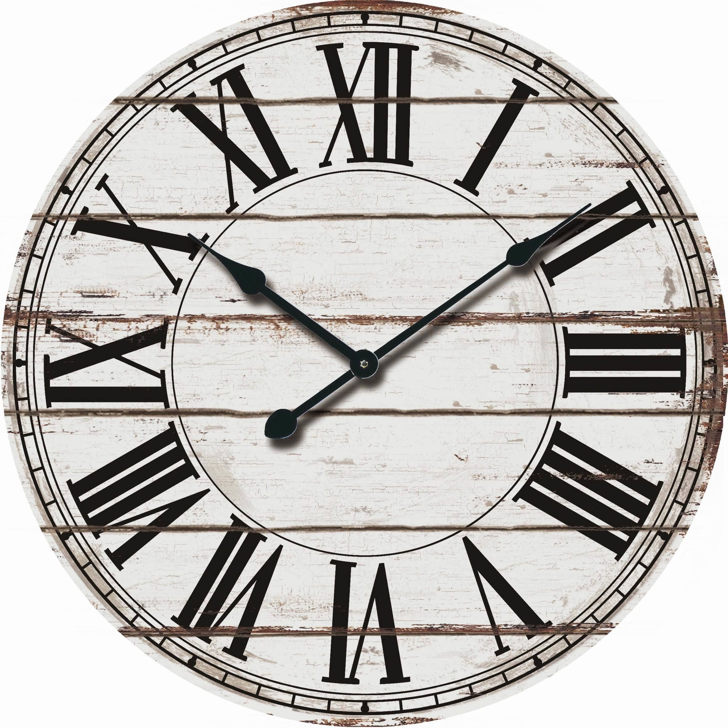 Black Wall Clock Rustic White Oversized Wood Wall Clock