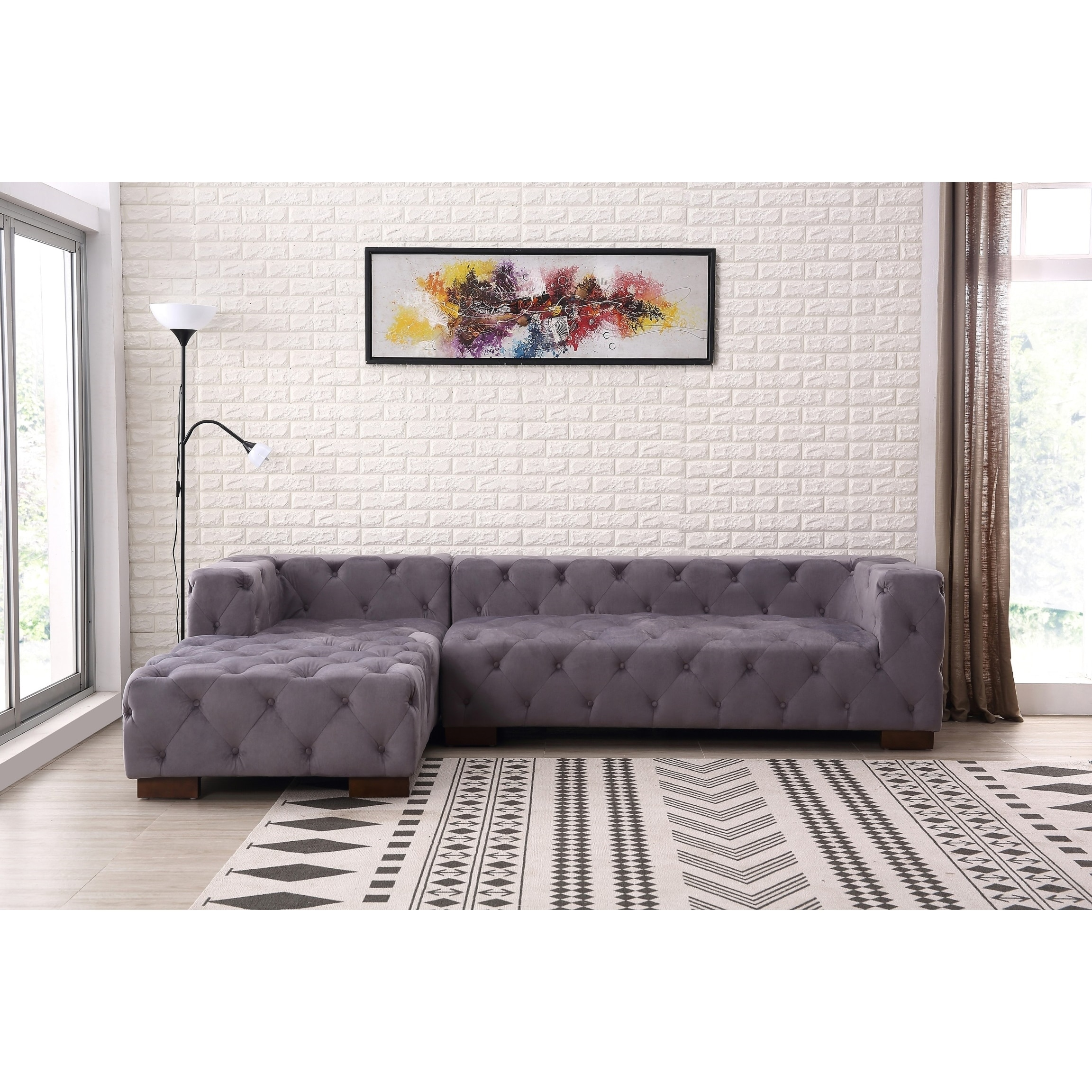 Chesterfield Sectional Sofa Kensington Tufted Chesterfield Left Facing Sectional Sofa