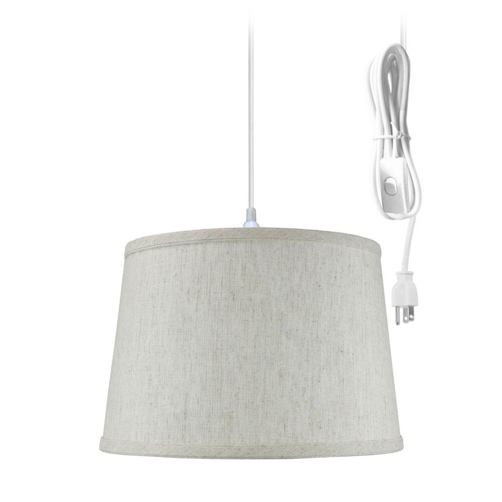 Hanging Lamp Shallow Drum 1 Light Swag Plug In Pendant Hanging Lamp 10x12x8 Textured