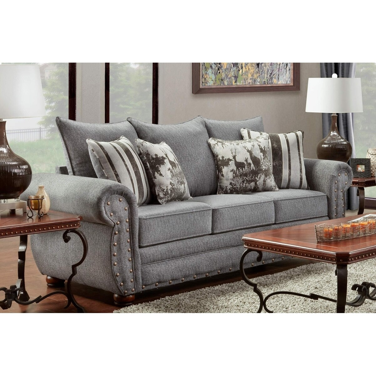 American Sofa Images American Furniture Classics Model B3103 Erss Elk River Storm Sofa