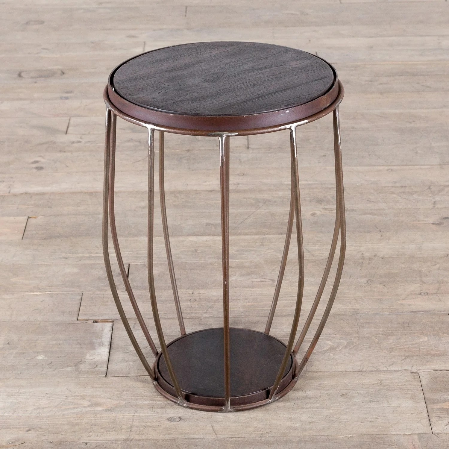Classic Table Shapes Iron And Mango Wood Round Metal Stool End Table