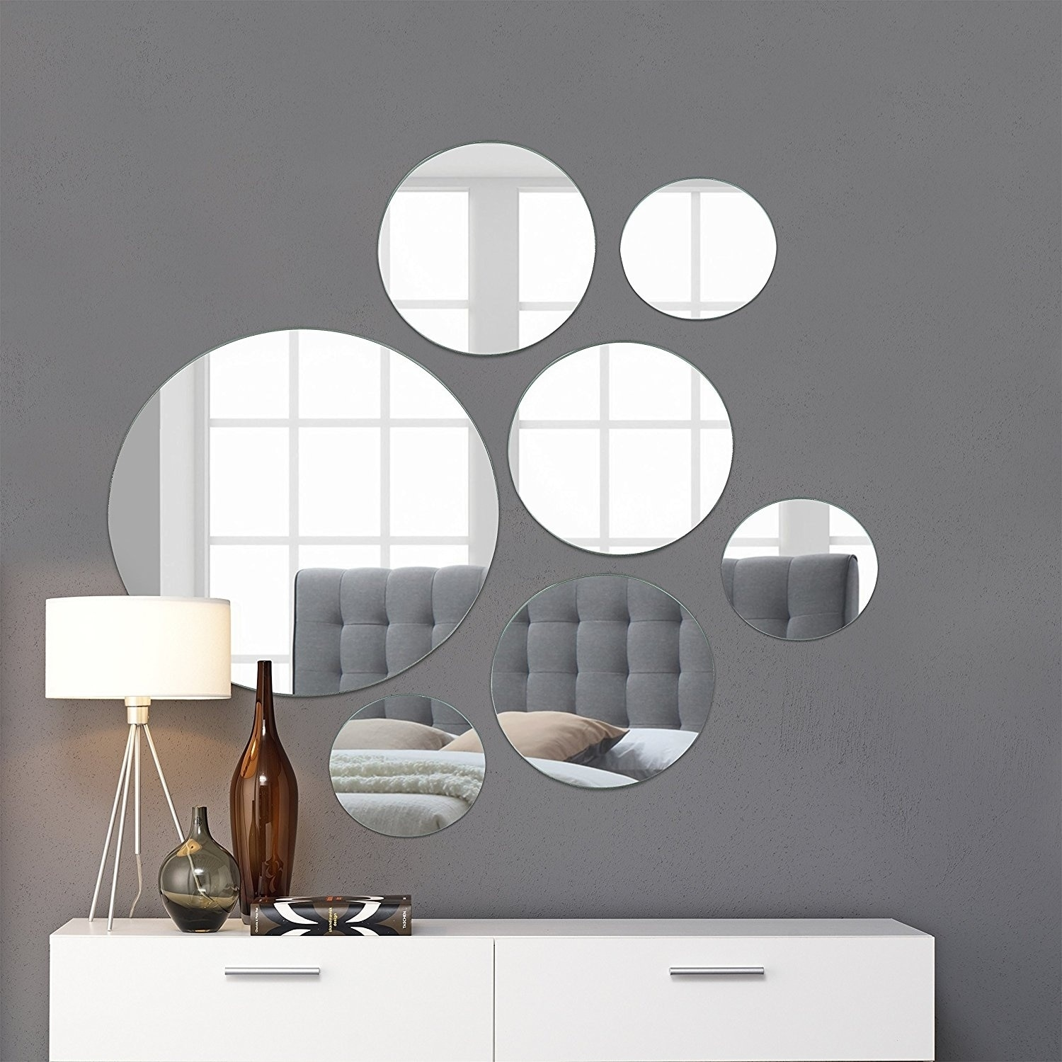 Large Wall Mirrors Round Wall Mirror Mounted Assorted Sizes Silver 1 Large 10