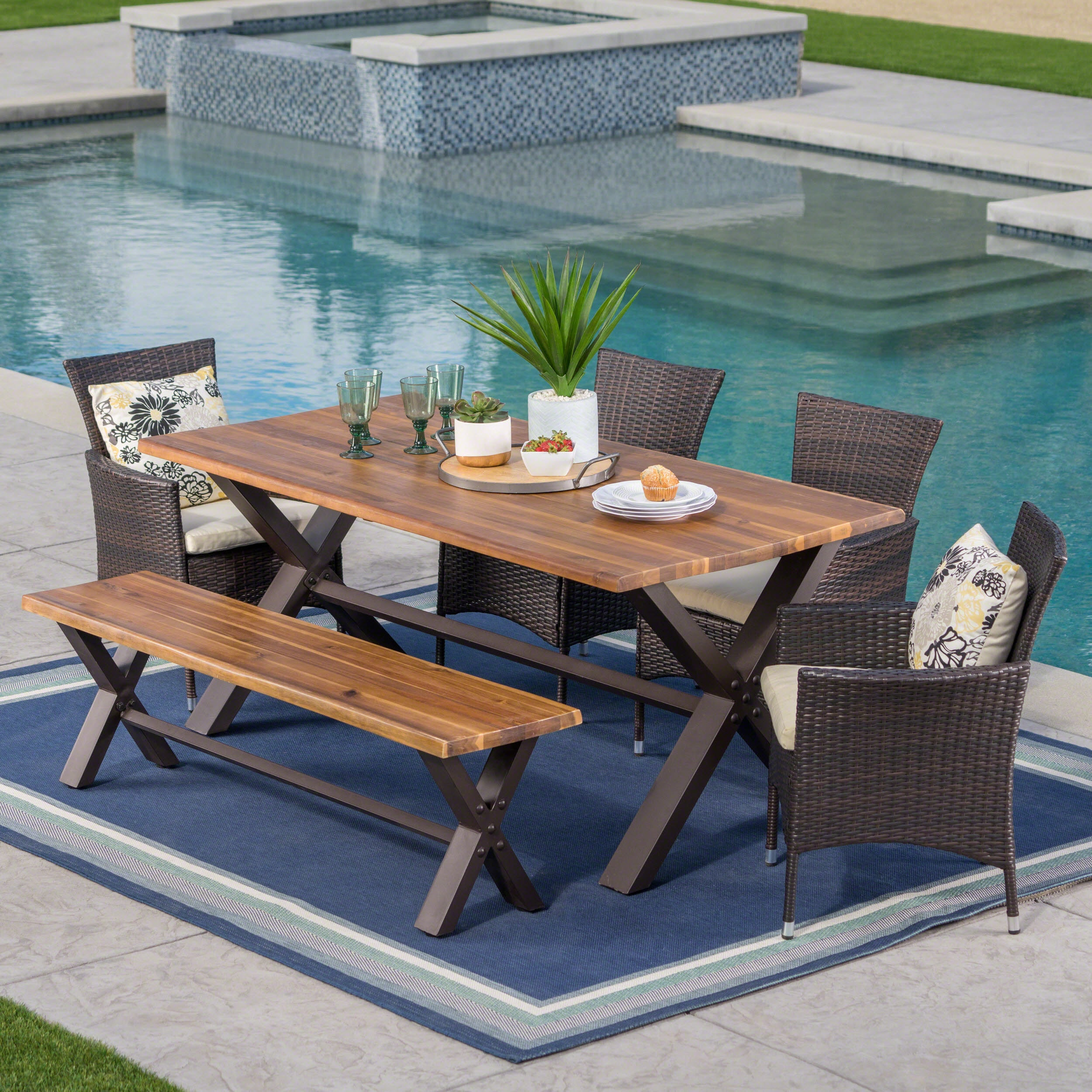 Patio Table Ozark Outdoor 6 Piece Rectangle Wicker Wood Dining Set With Cushions By Christopher Knight Home
