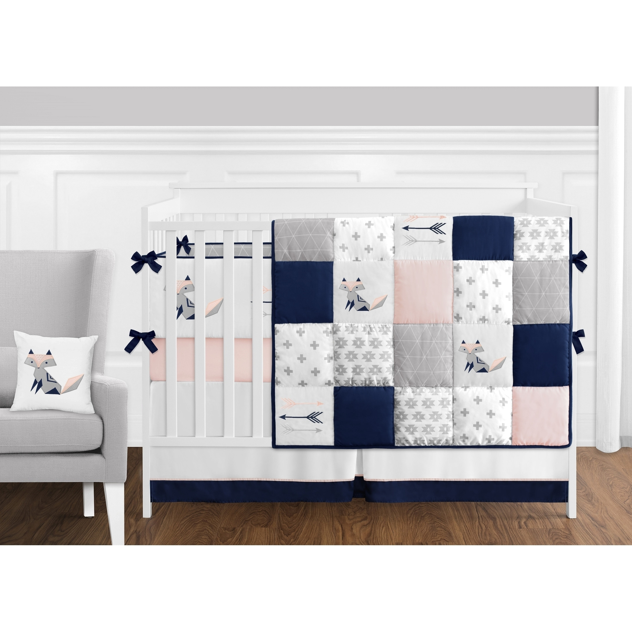 Patchwork Set Baby Sweet Jojo Designs Navy Blue Pink And Grey Patchwork Woodland Fox Arrow Collection Baby Girl 9 Piece Crib Bedding Set