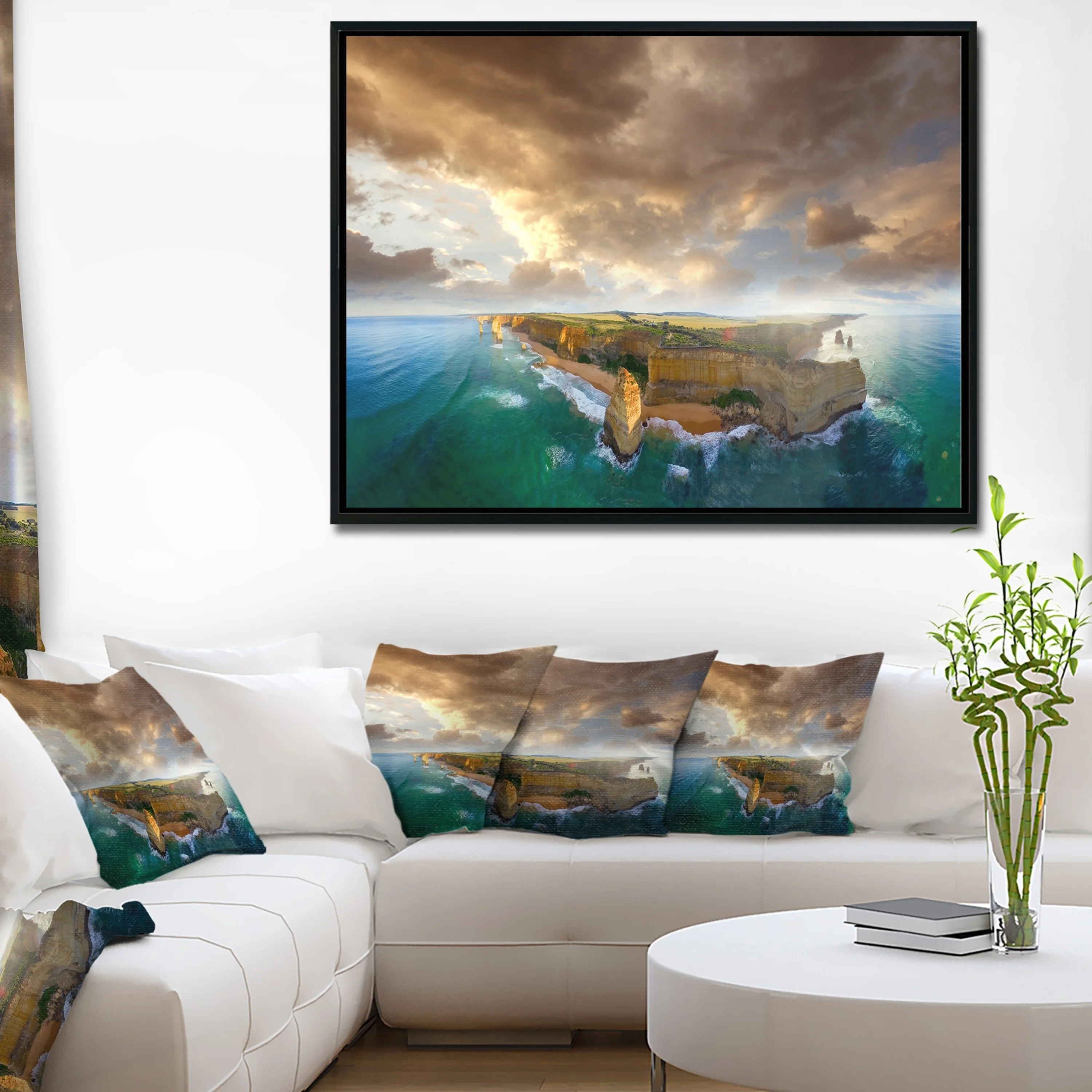 Wall Prints For Living Room Australia Designart Great Ocean Road Australia Blue Large Seascape Art Framed Canvas Print
