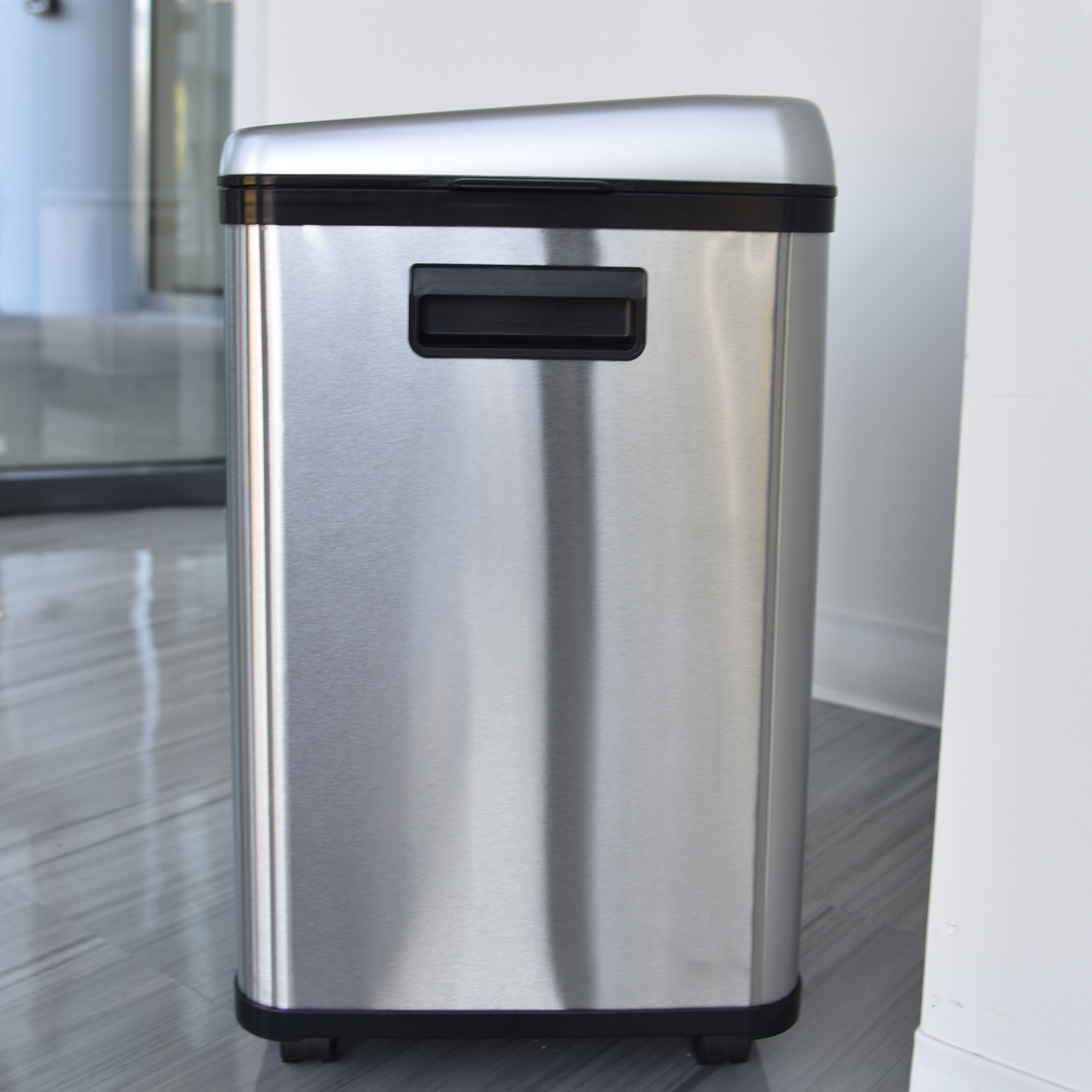 Stainless Steel Recycling Bins Halo 16 Gallon Dual Compartment Stainless Steel Sensor Recycle Bin Trash Can
