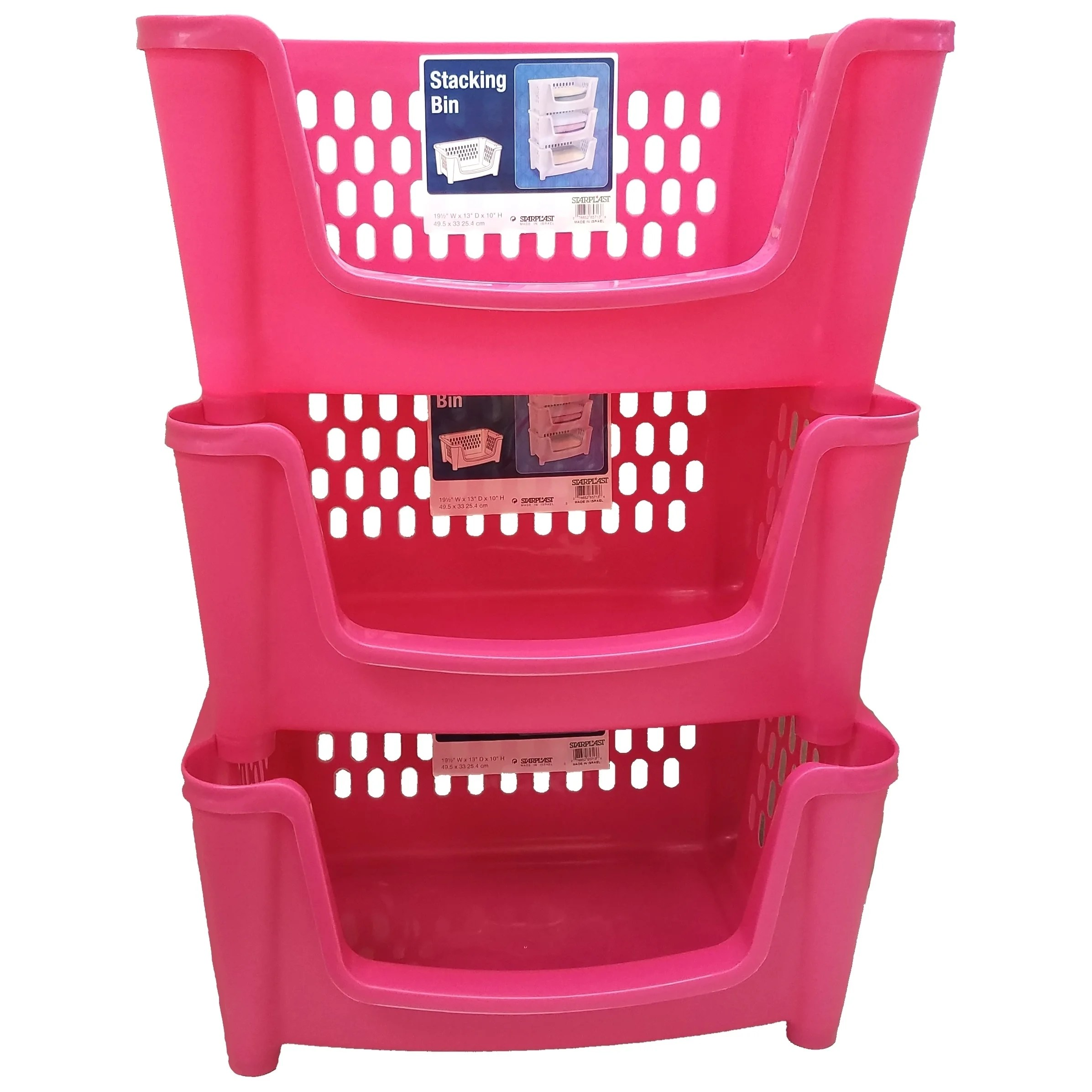 Pink Bins Medium Stack N Nest Storage Basket Bin 3 Pack Pink