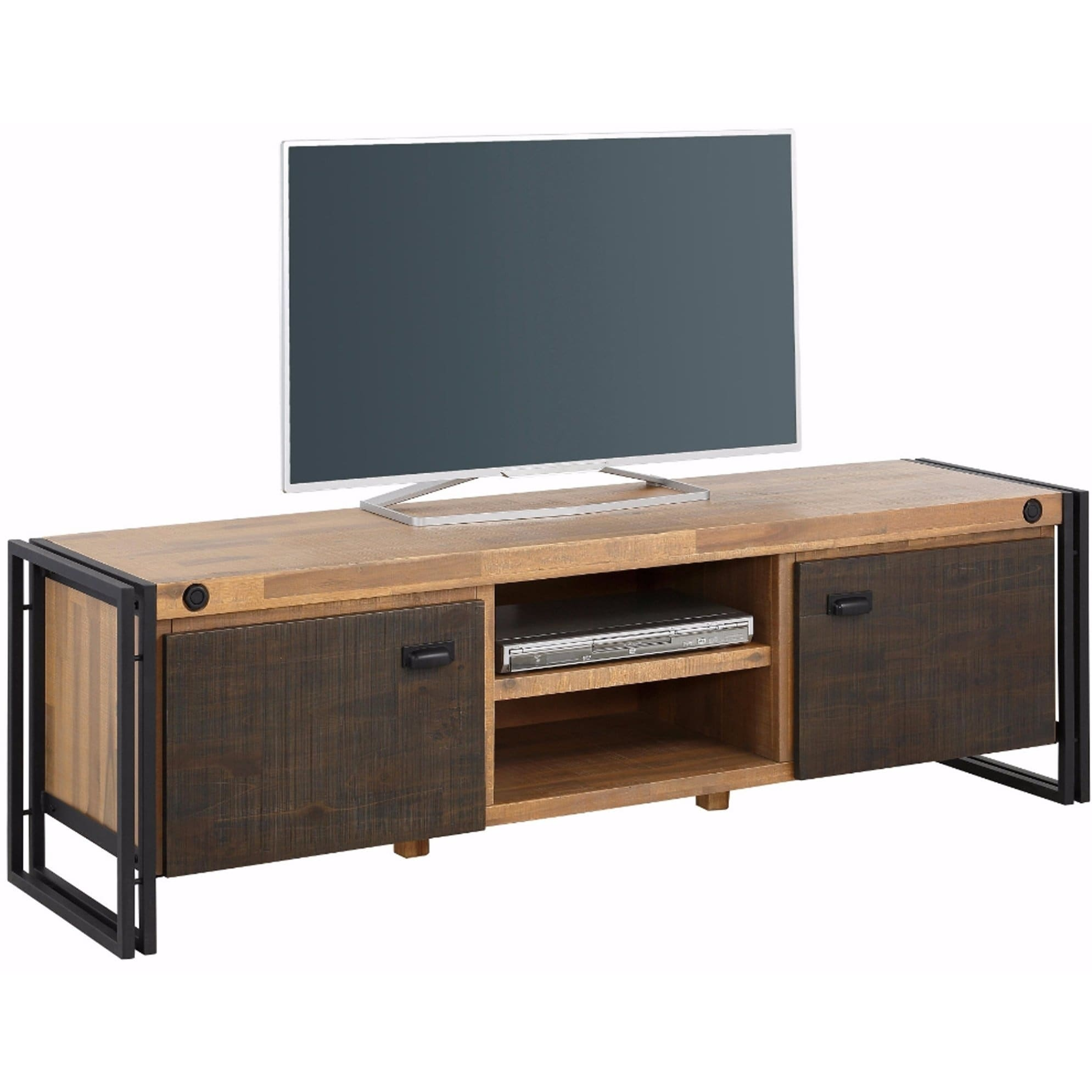 Tv Lowboard Industriedesign Katashi Acacia Wood And Metal 2 Door Tv Lowboard Entertainment Center