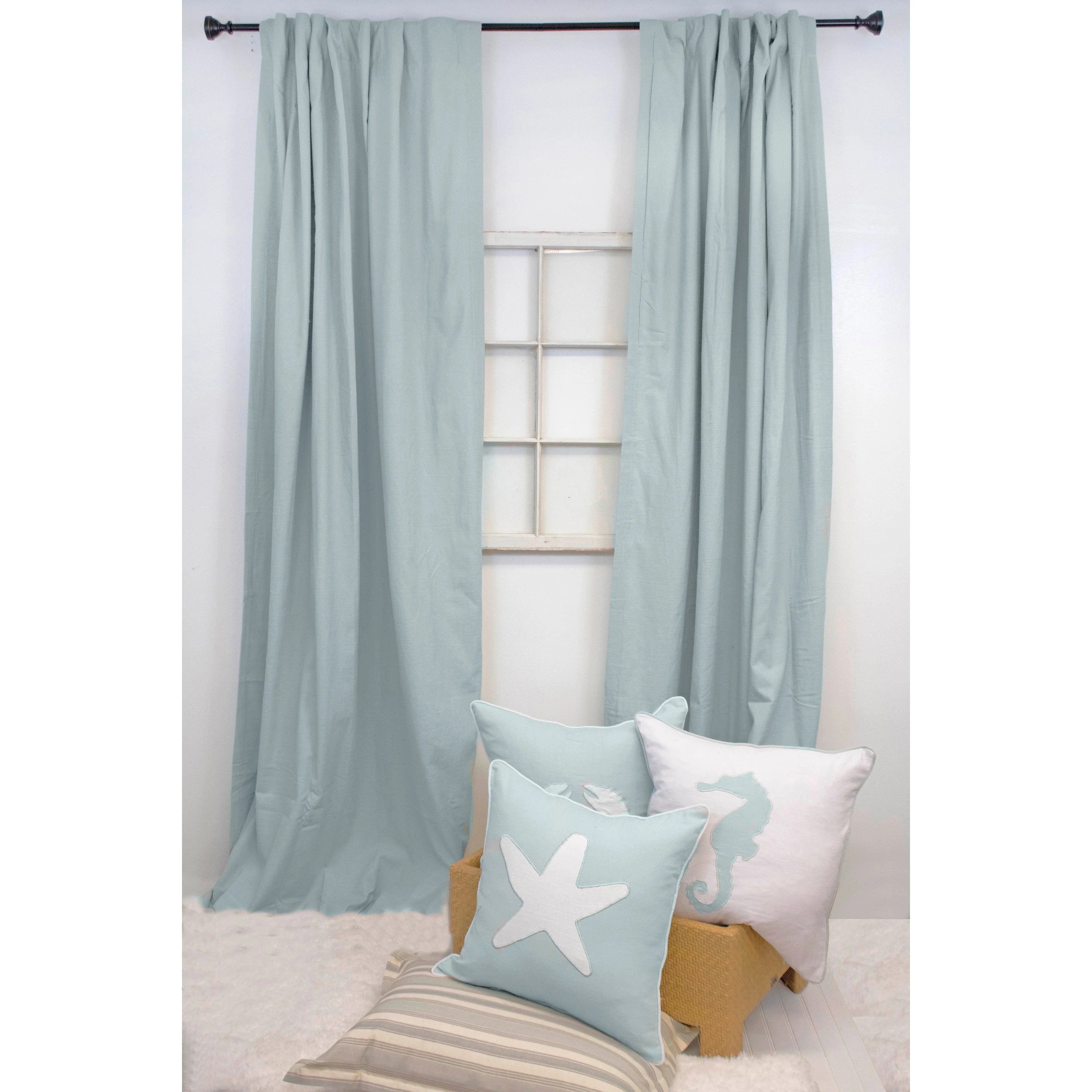 Cotton Curtain Panels American Colors Brand Heritage Spa Blue Cotton Solid Curtain Panel Pair