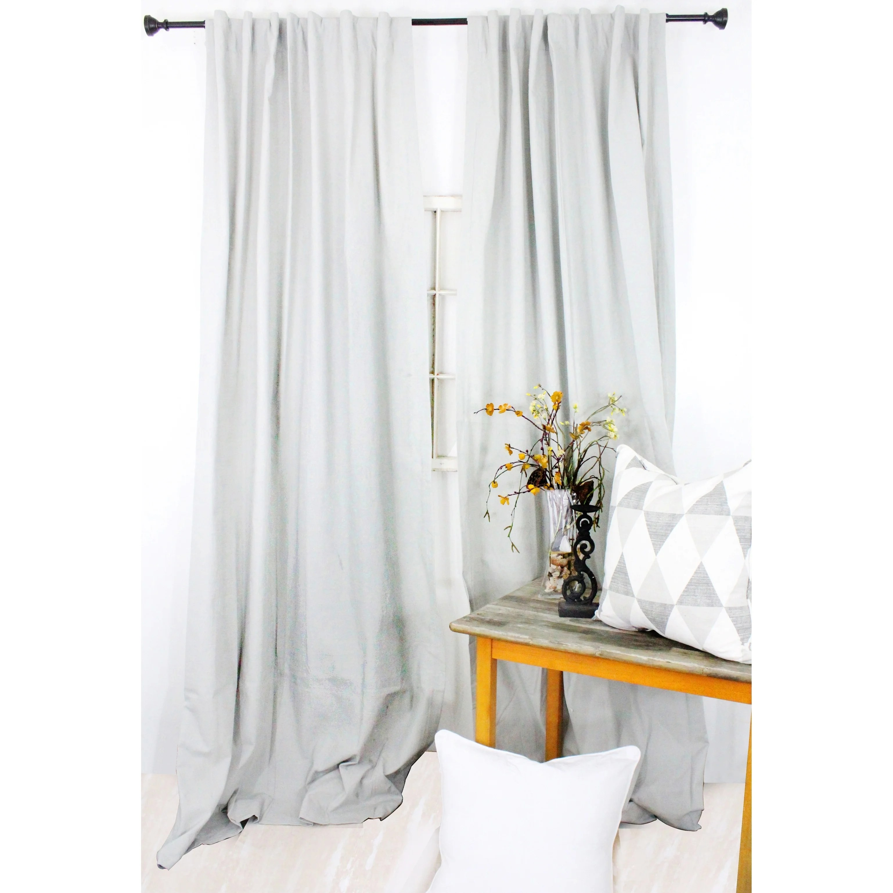 Cotton Curtain Panels American Colors Brand Heritage Cotton Solid Curtain Panels Mist Grey