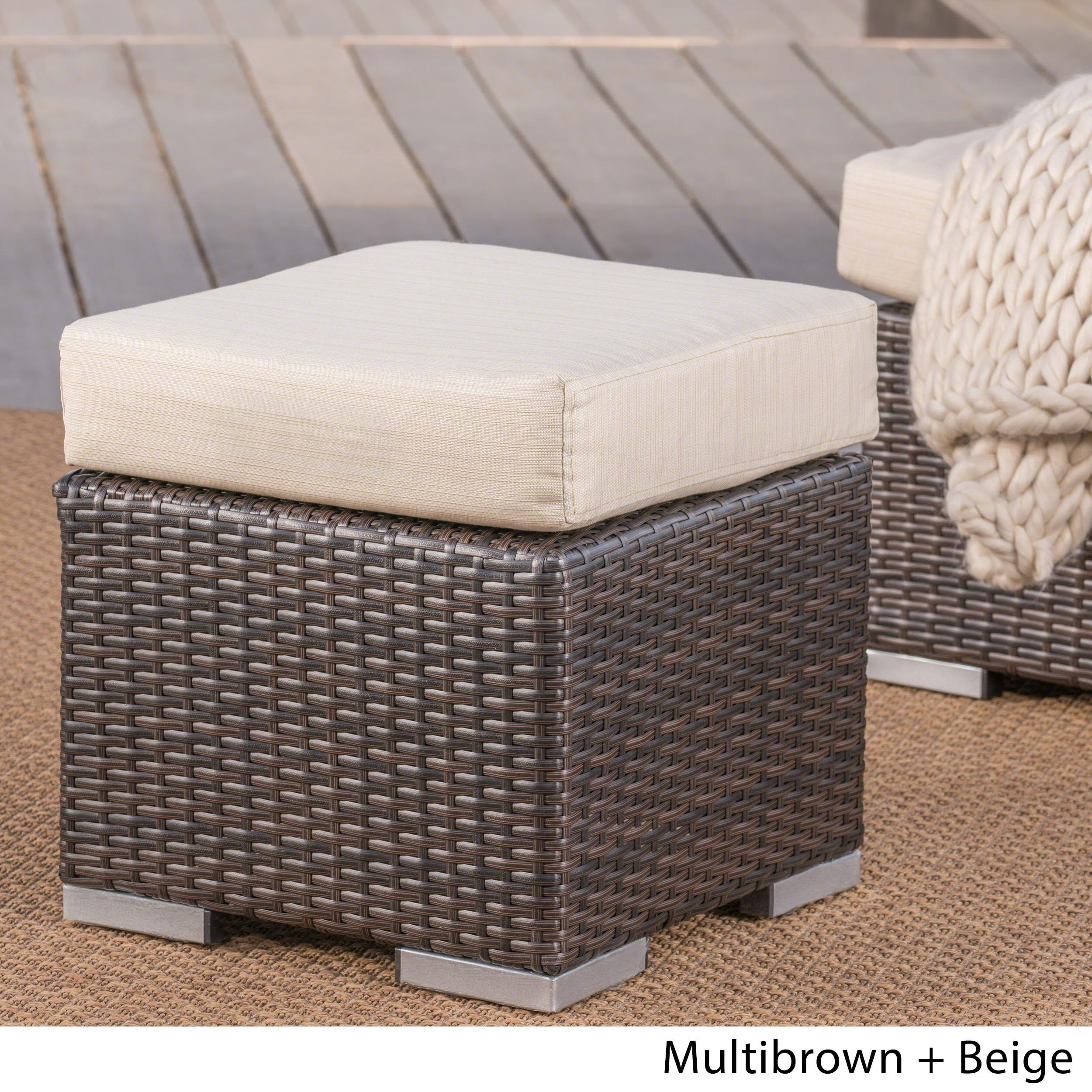 Wicker Ottoman Santa Rosa Outdoor 16 Inch Square Wicker Ottoman With Cushion By Christopher Knight Home