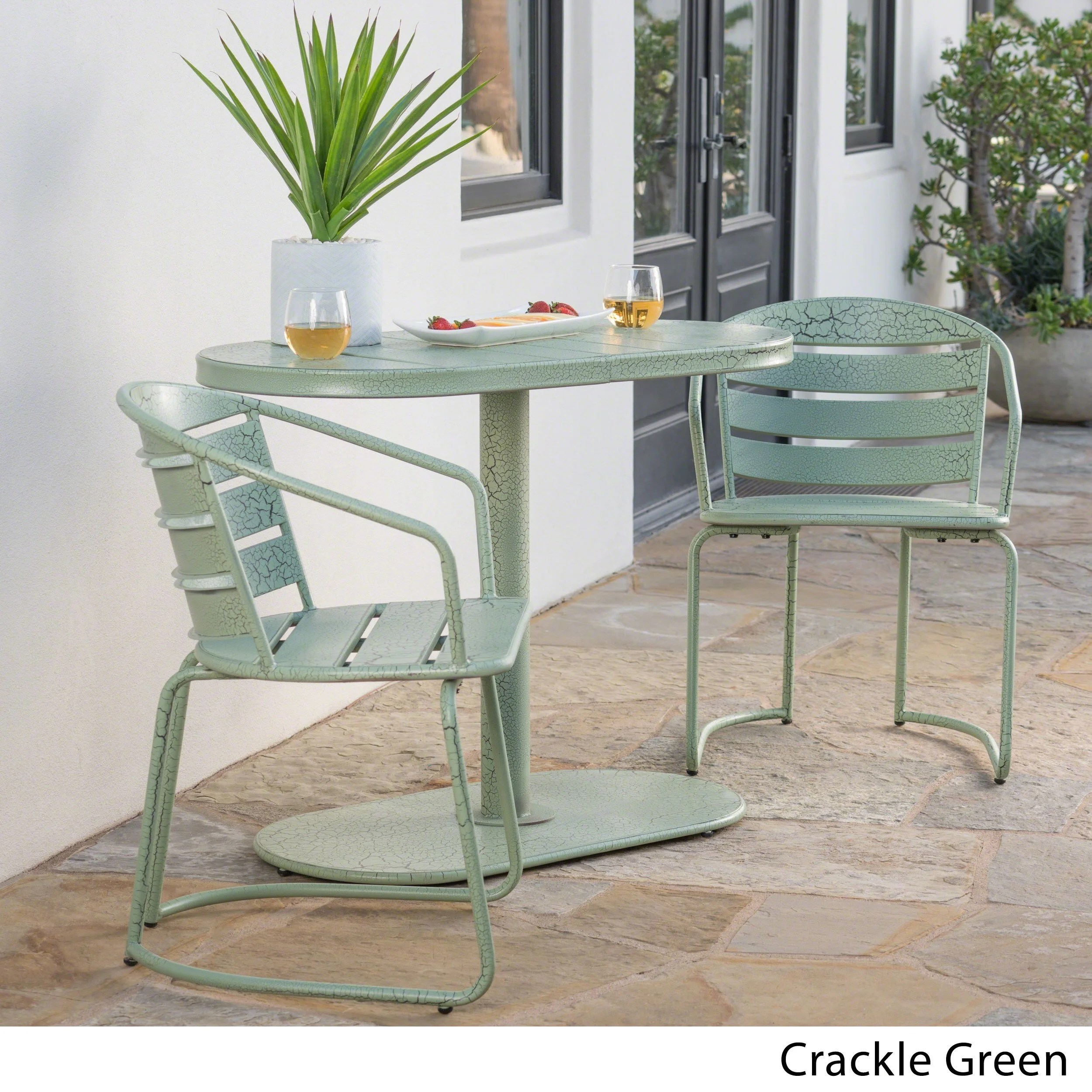 Chaise Metal Bistro Santa Monica Outdoor 3 Piece Oval Bistro Chat Set By Christopher Knight Home
