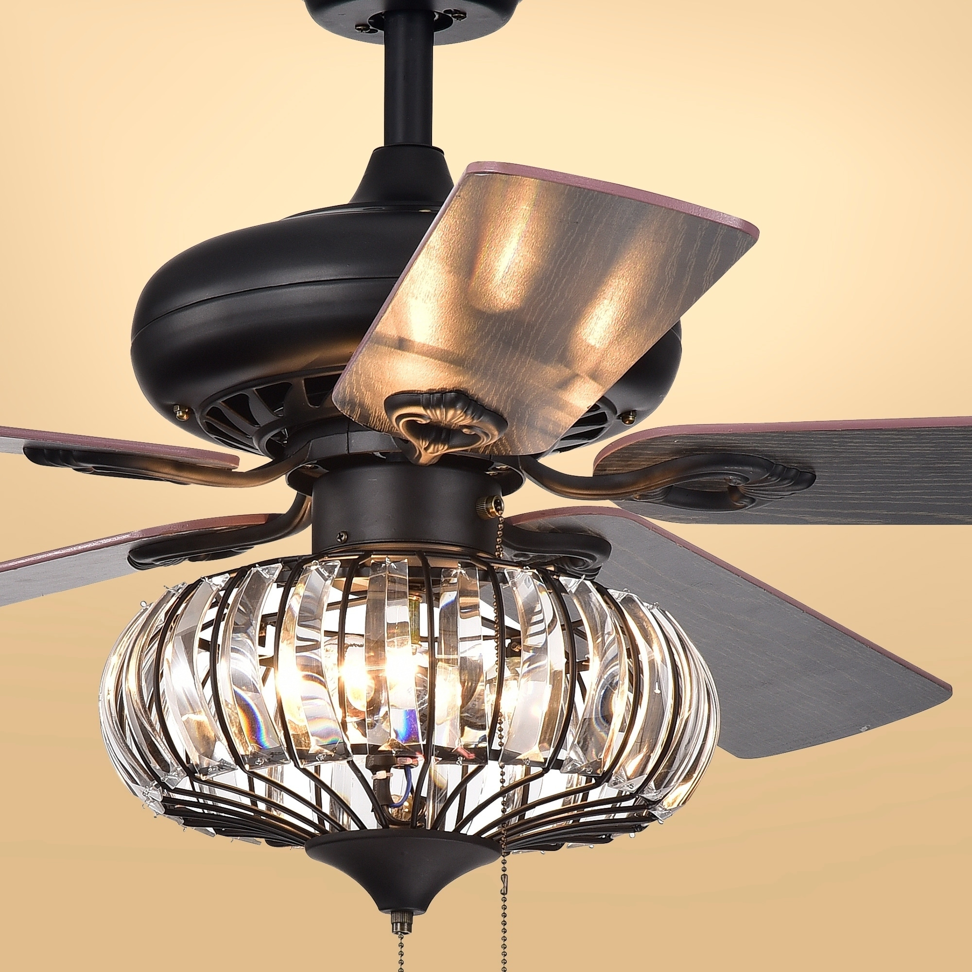 Ceiling Fans With Good Lighting Chrysaor 3 Light Crystal 5 Blade 52 Inch Brown Ceiling Fan Optional Remote