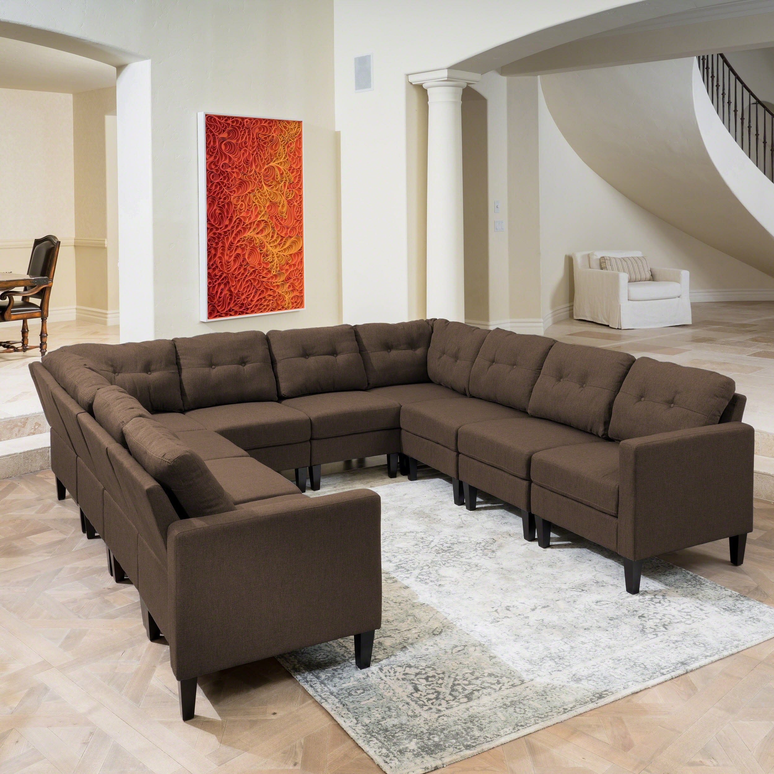 U Couch Emmie Mid Century Modern 10 Piece U Shaped Sectional Sofa Set By Christopher Knight Home