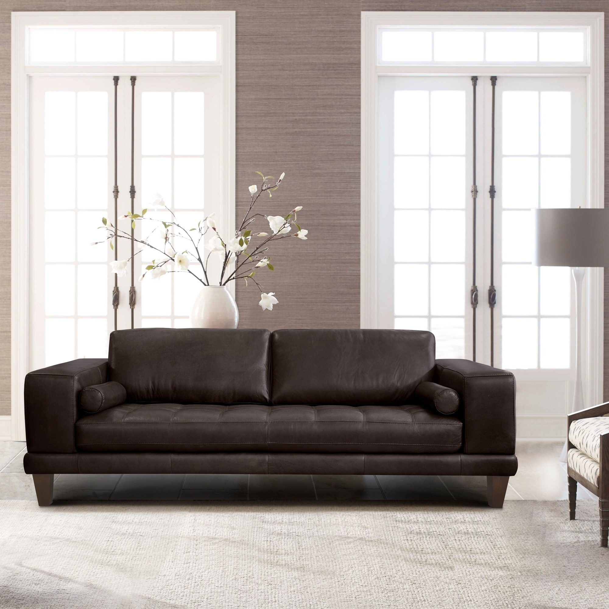 Contemporary Couch Armen Living Wynne Contemporary Sofa In Genuine Espresso Leather