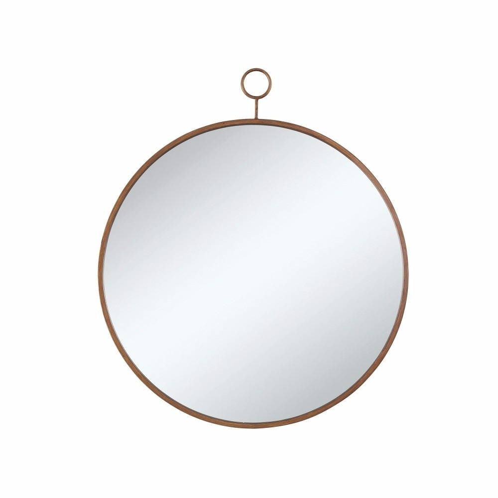 Loop Hanger Round Wall Mirror With A Loop Hanger Gold And Silver Gold And Silver