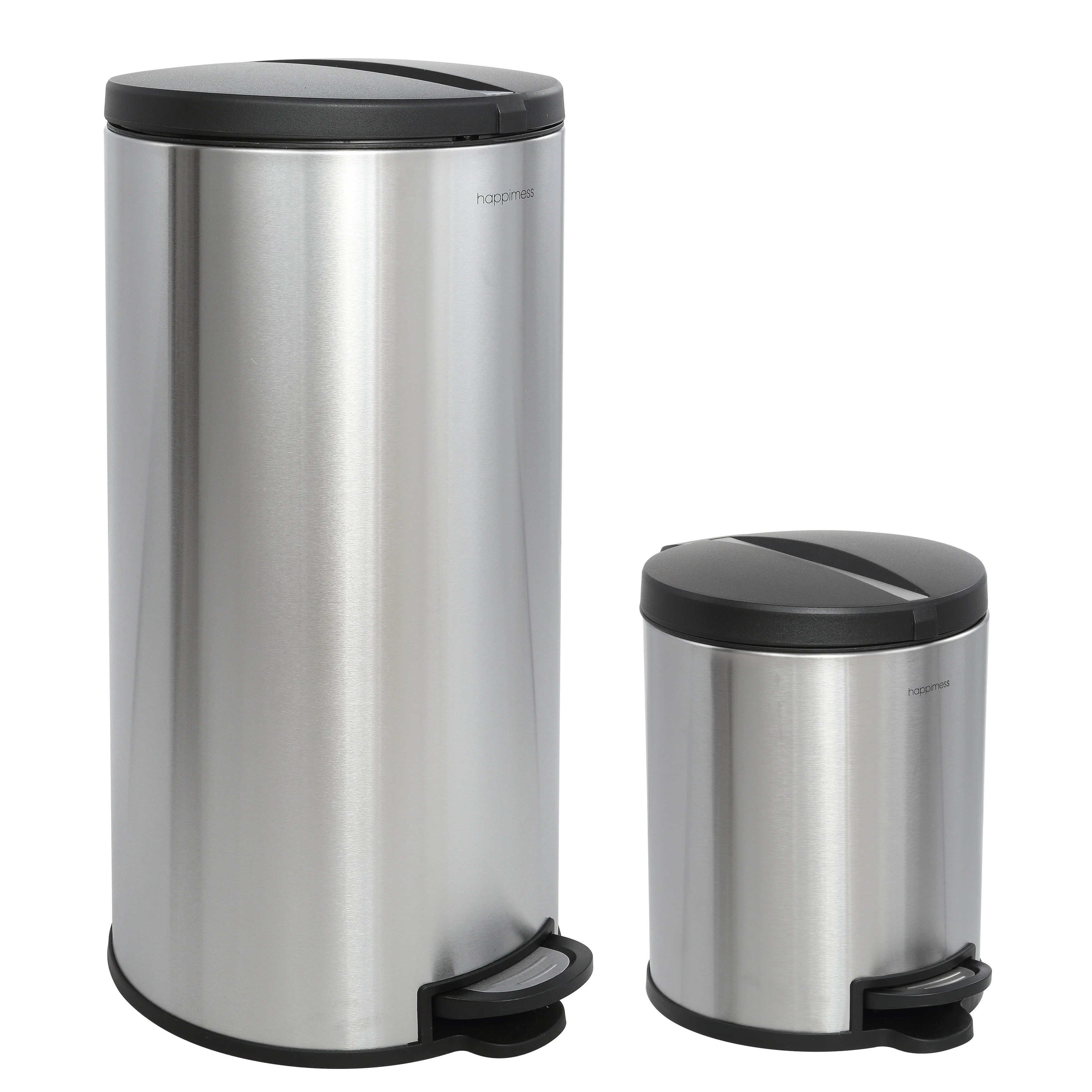 Mini Plastic Trash Can With Lid Happimess Oscar Round 8 Gallon Step Open Trash Can With Free Mini Trash Can Stainless Steel Black