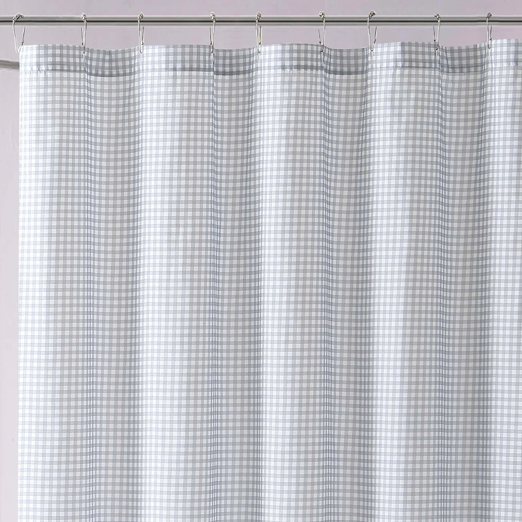 Grey And White Gingham Curtains My World Printed Gingham Shower Curtain