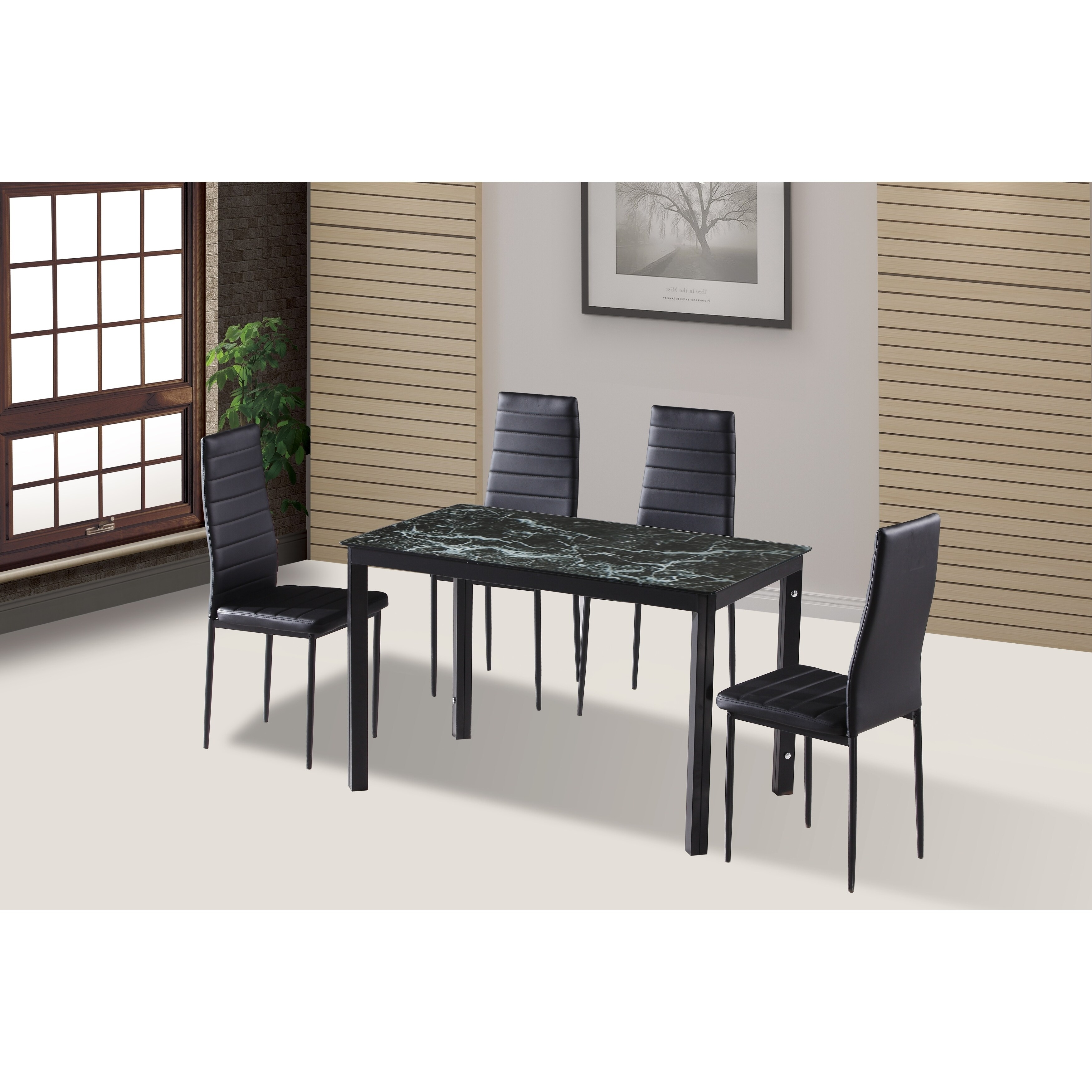 Glass Dining Table And Chairs Ids Home 7 Pieces Modern Glass Dining Table Set Faxu Leather With 6 Black Chairs