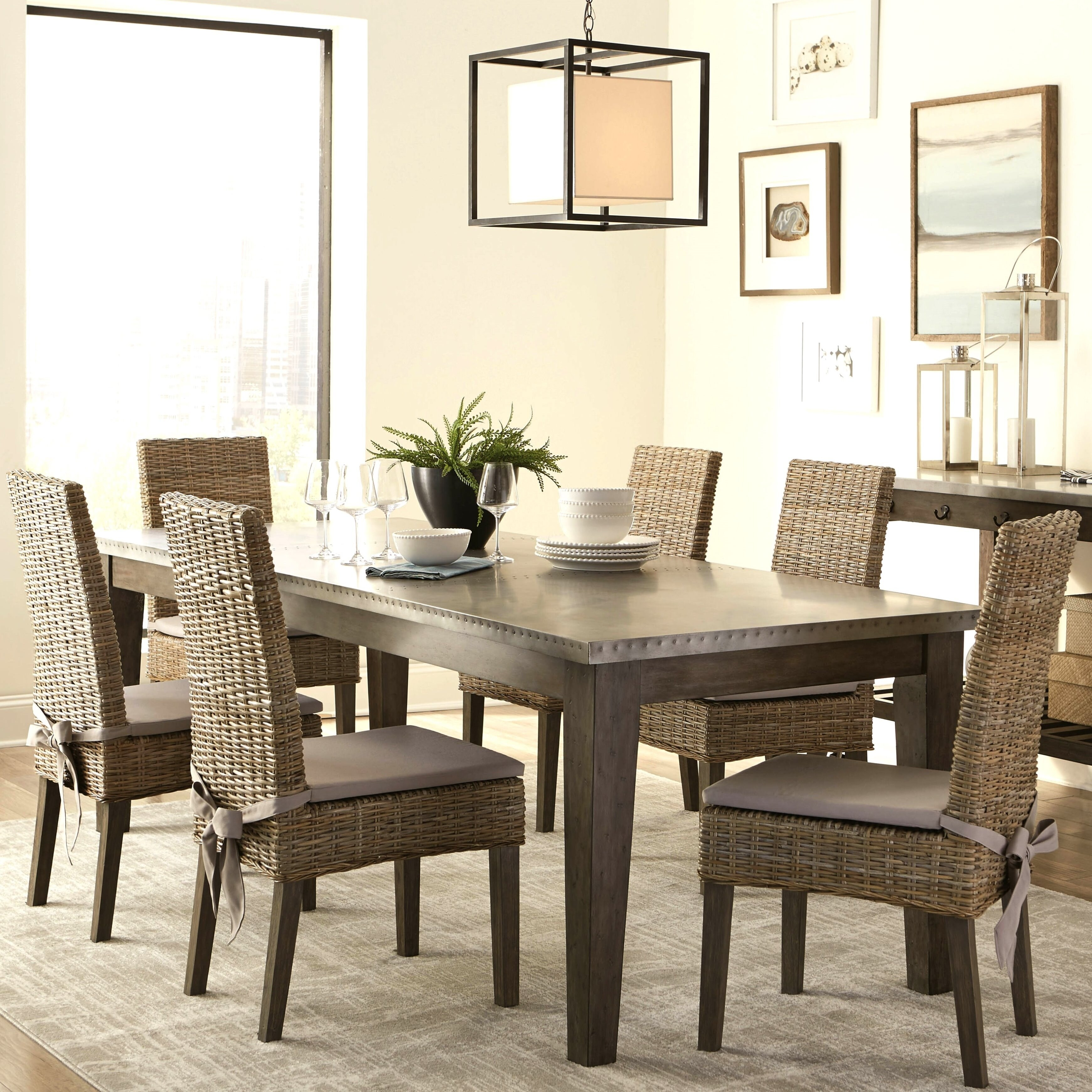 Rattan Chairs Rustic Industrial Design Metal Top Dining Set With Rattan Chairs