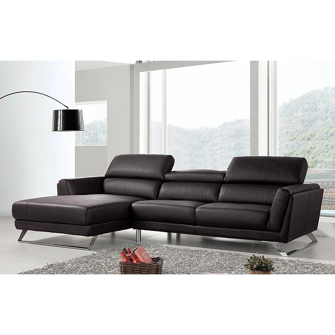L Sofa Waldorf Modern Black Leather L Shaped Sofa With Adjustable Headrests