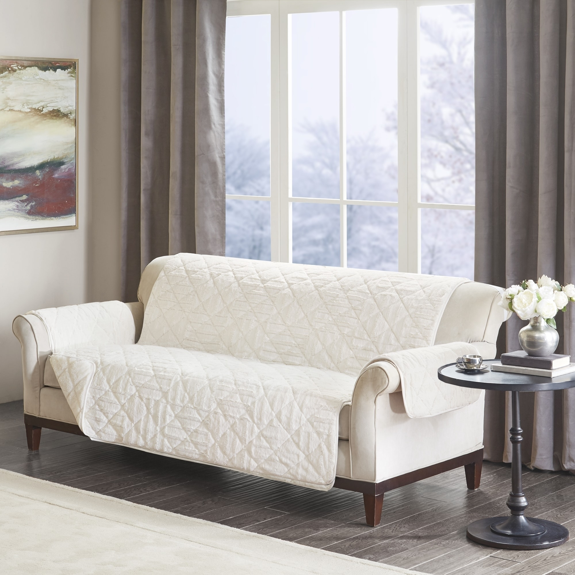 Sofa X Long Madison Park Polar Checkboard Long Faux Fur Sofa Furniture Protector 2 Color Option 110