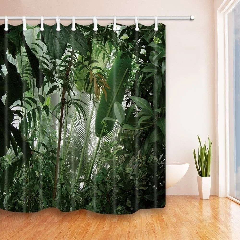 Banana Leaf Shower Curtain Tropical Plants Decor Jungle Green Banana Leaves Shower Curtain