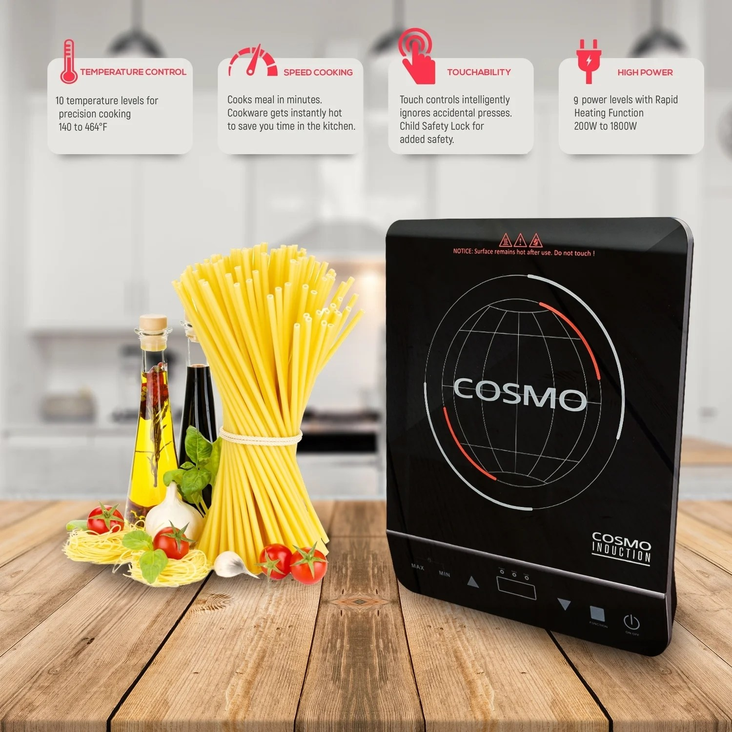 Cuisine Induction Cosmo 1800 Watt Induction Cooktop With Rapid Heating And Safety Lock
