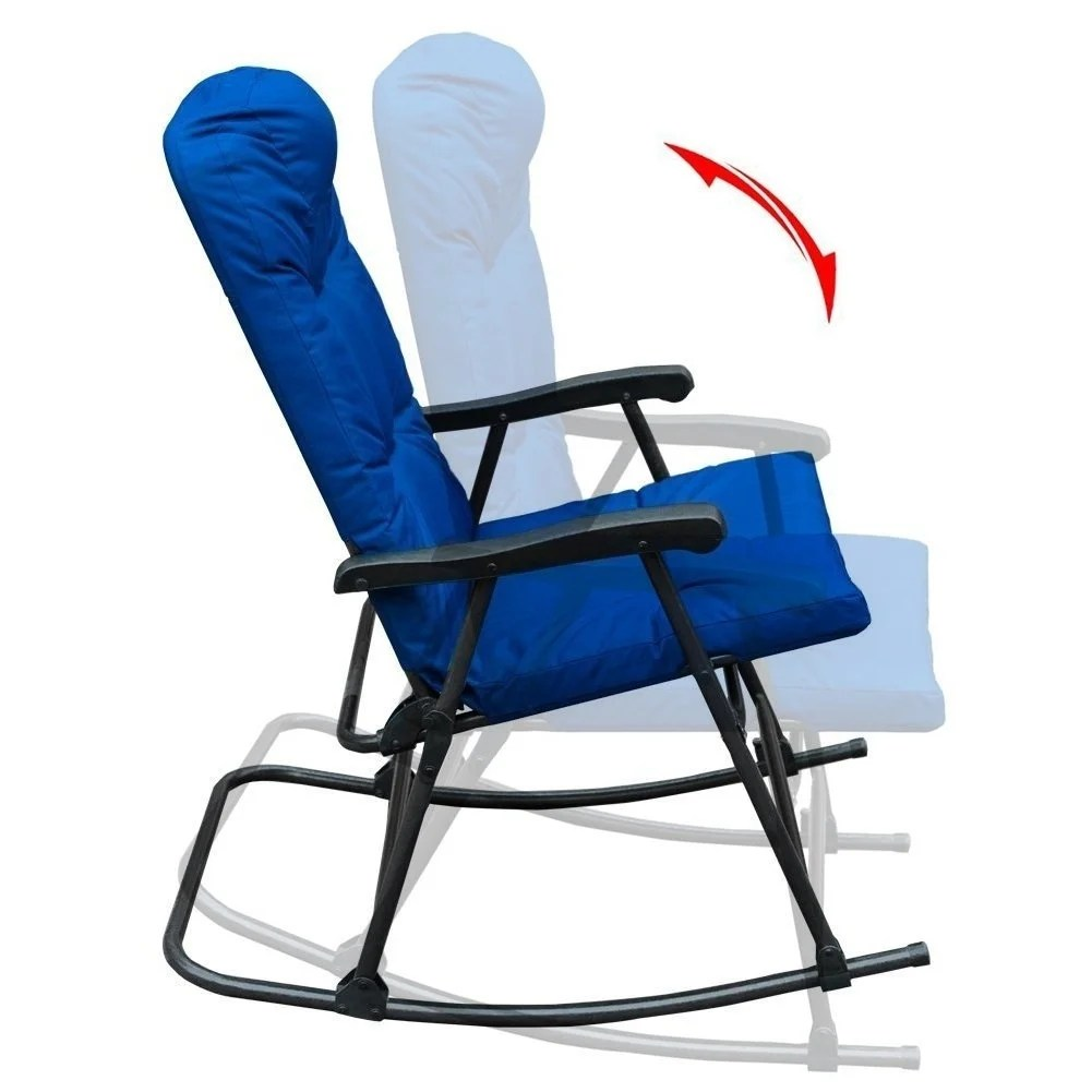 Patio Rocker Chairs Sunlife Folding Rocking Chair Lounge Patio Rocking Chairs Outdoor Yard Beach With Blue Pairs Cushion Set Of 2
