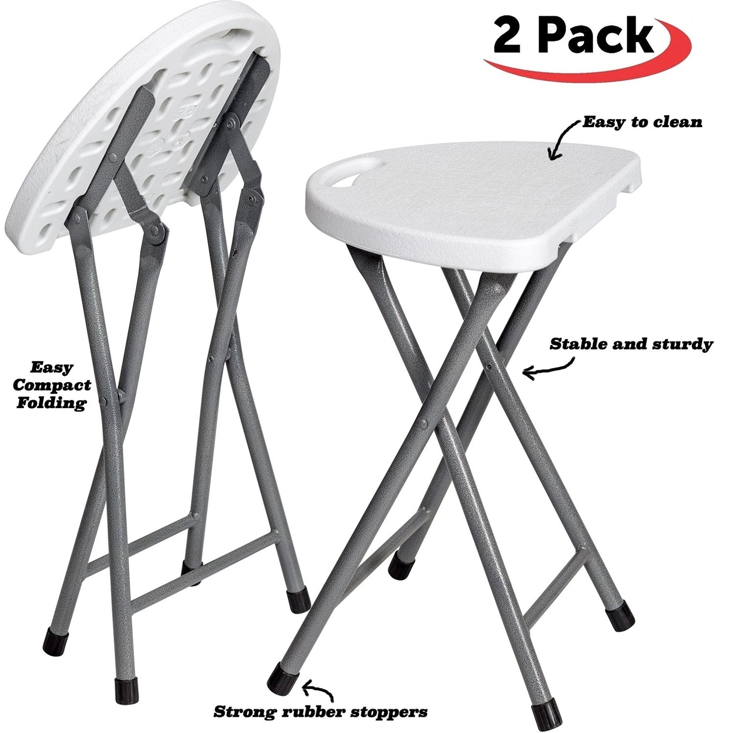 Portable Stool Folding Stool Set Of 2 Portable Plastic Chair With Durable Steel Frame Legs Weather Resistant For Indoor Outdoor Use White