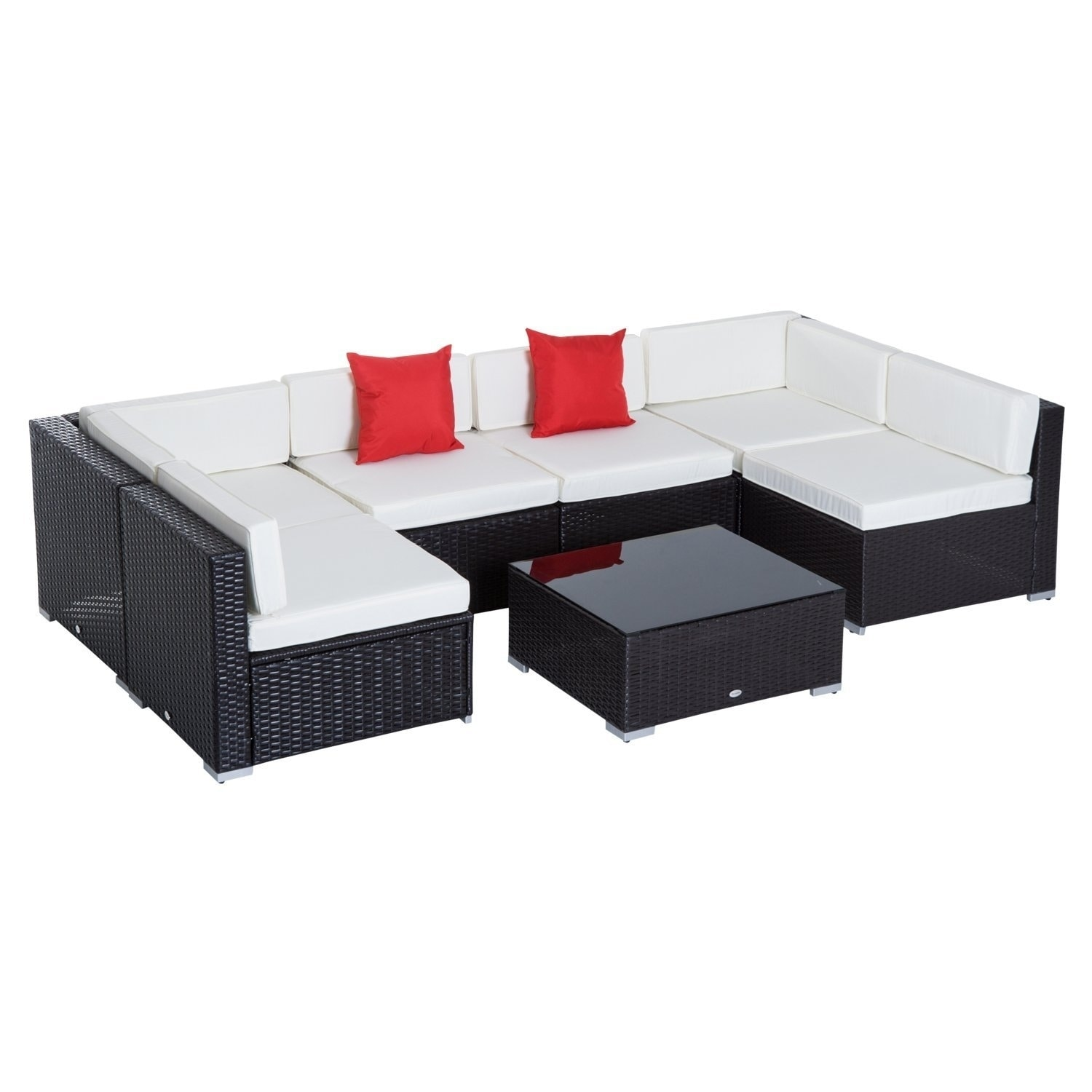Sofa Rattan Outsunny 7 Piece Set Rattan Sofa Luxury Modular Conversation Outdoor Furniture