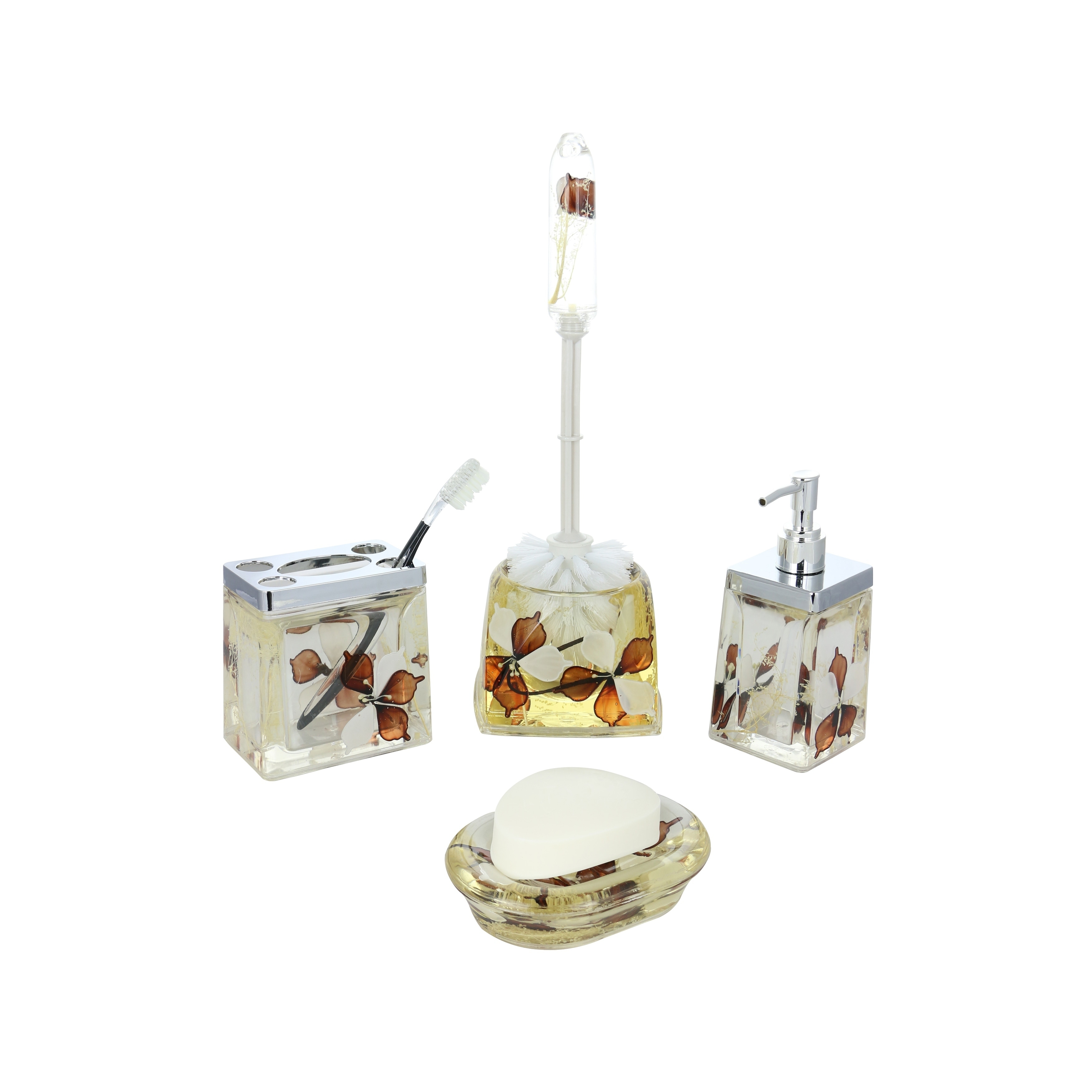 Bathroom Dispenser Set 5 Piece Bathroom Set Brown White Flowers Includes Toothbrush Holder Toilet Brush Scrubber Soap Dispenser