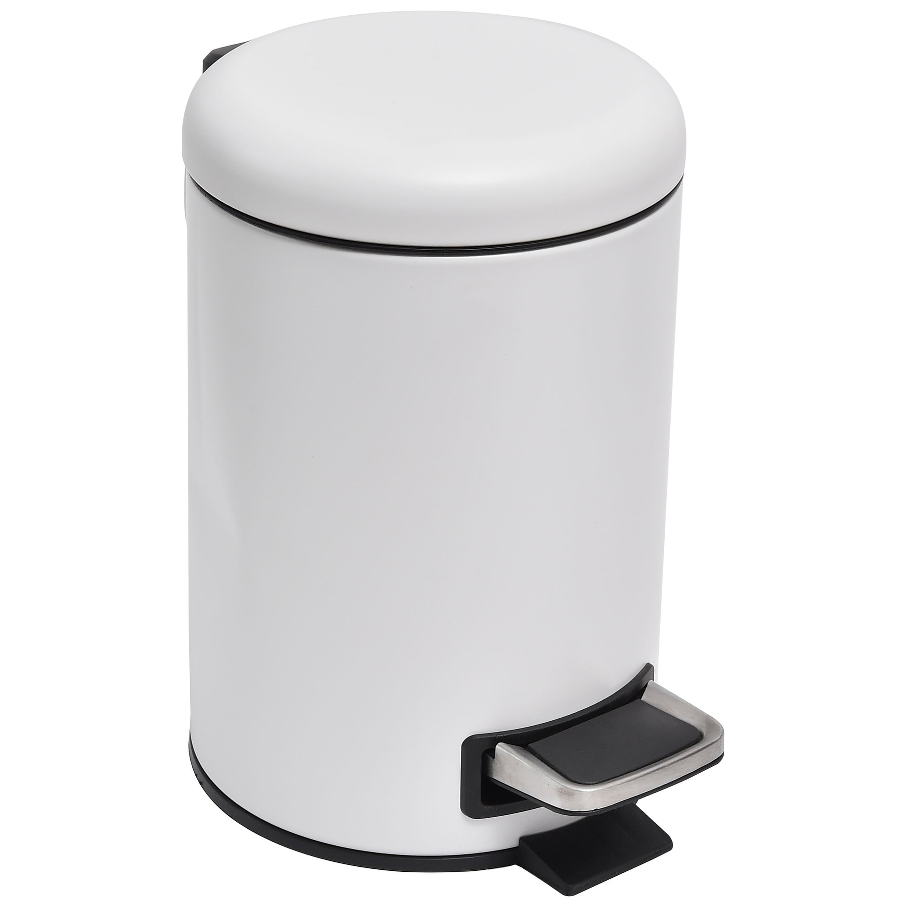 Small White Trash Can With Lid Evideco Soft Close Small Round Metal Bathroom Floor Step Trash Can Waste Bin 3 Liters 8 Gal White