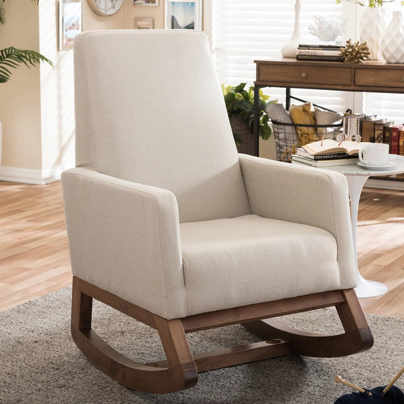 Rocking Chair Carson Carrington Honningsvag Mid Century Modern Light Beige Upholstered Rocking Chair